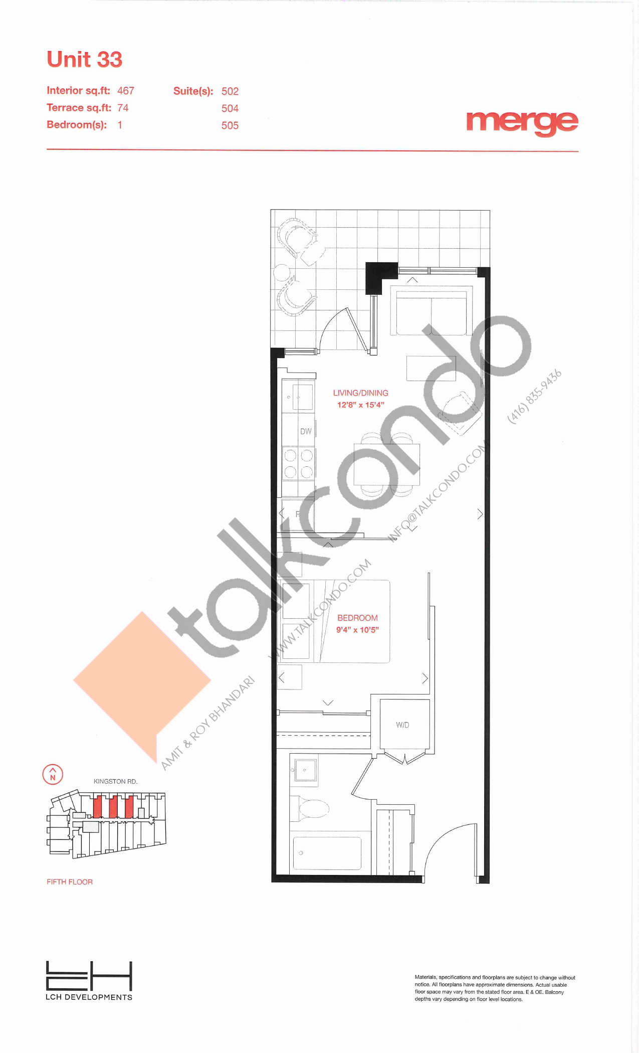 Unit 33 - Tower Floor Plan at Merge Condos - 467 sq.ft