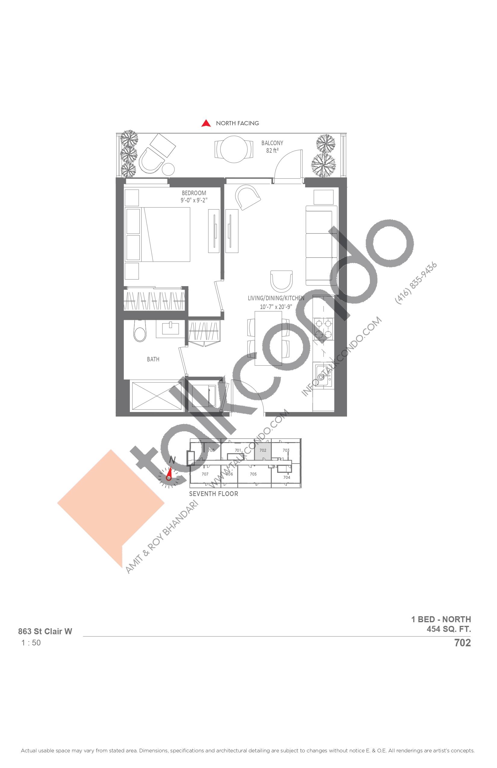 702 Floor Plan at Monza Condos - 454 sq.ft