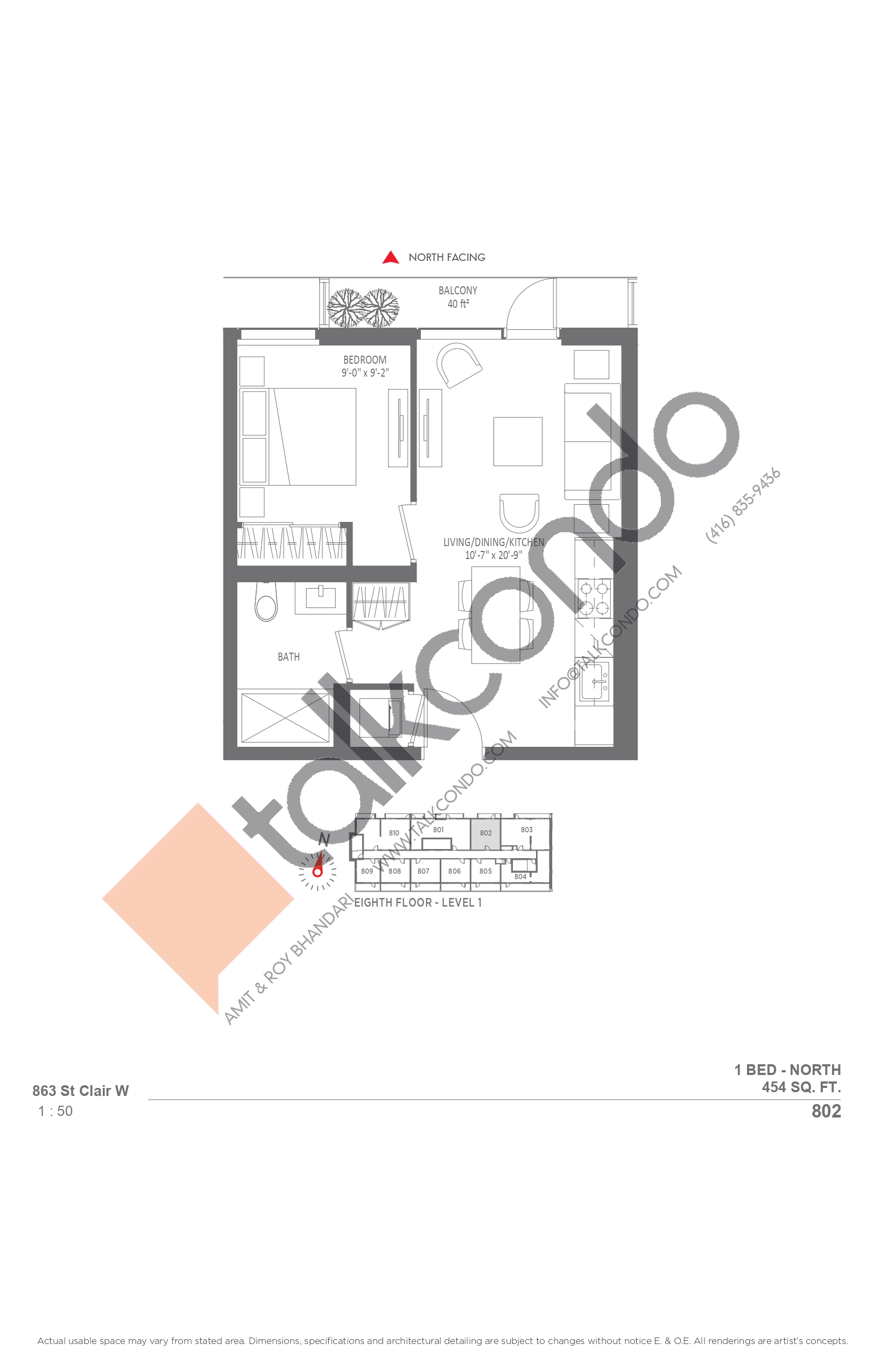 802 Floor Plan at Monza Condos - 454 sq.ft