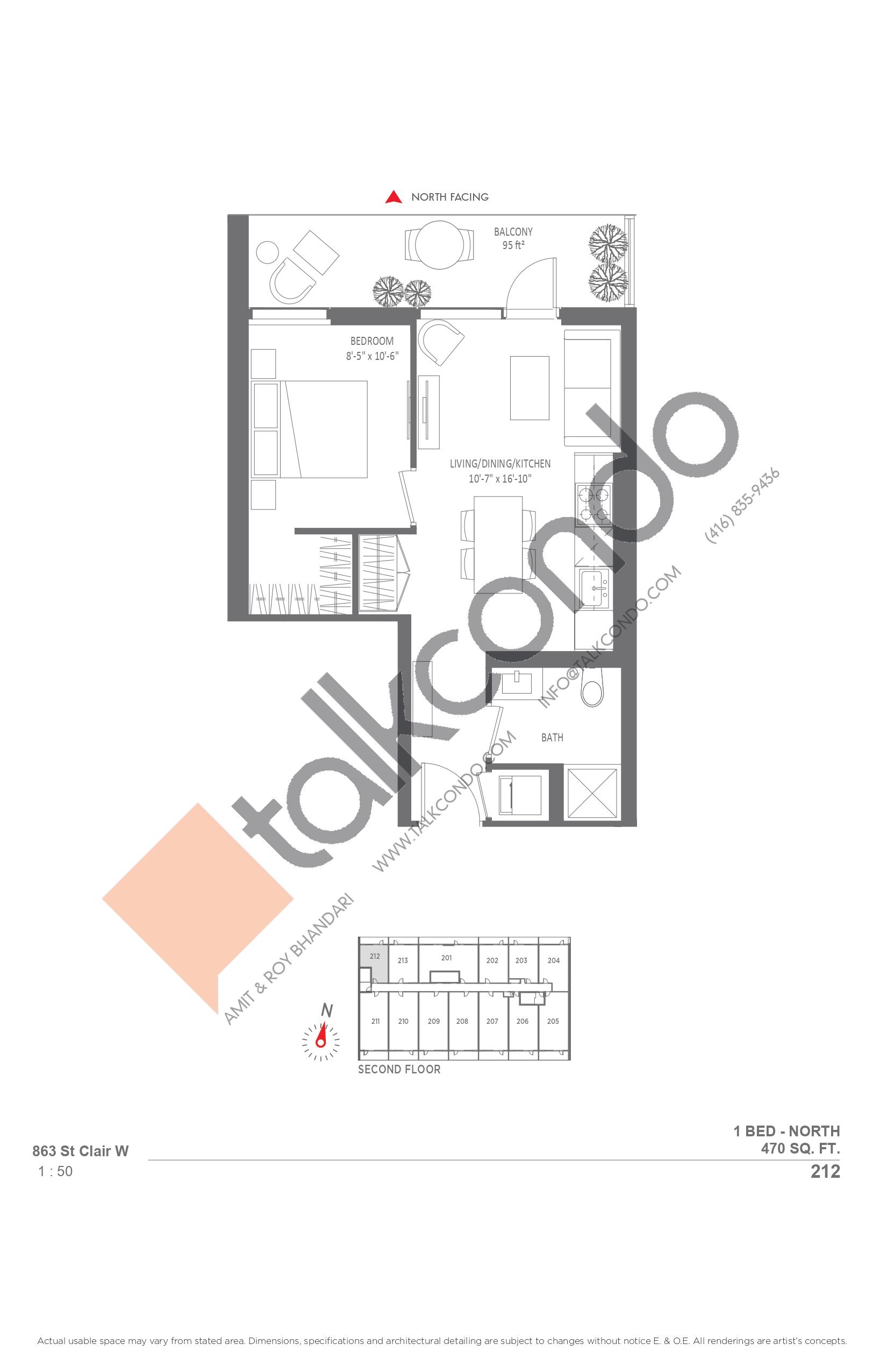 212 Floor Plan at Monza Condos - 470 sq.ft