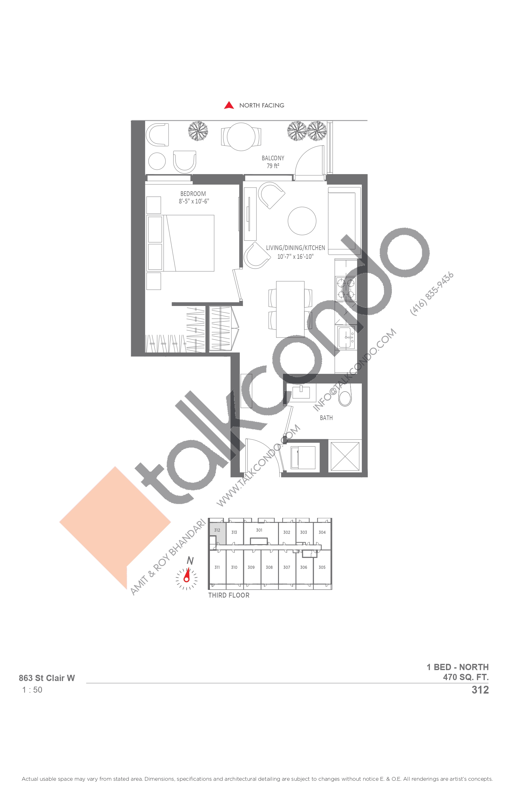 312 Floor Plan at Monza Condos - 470 sq.ft