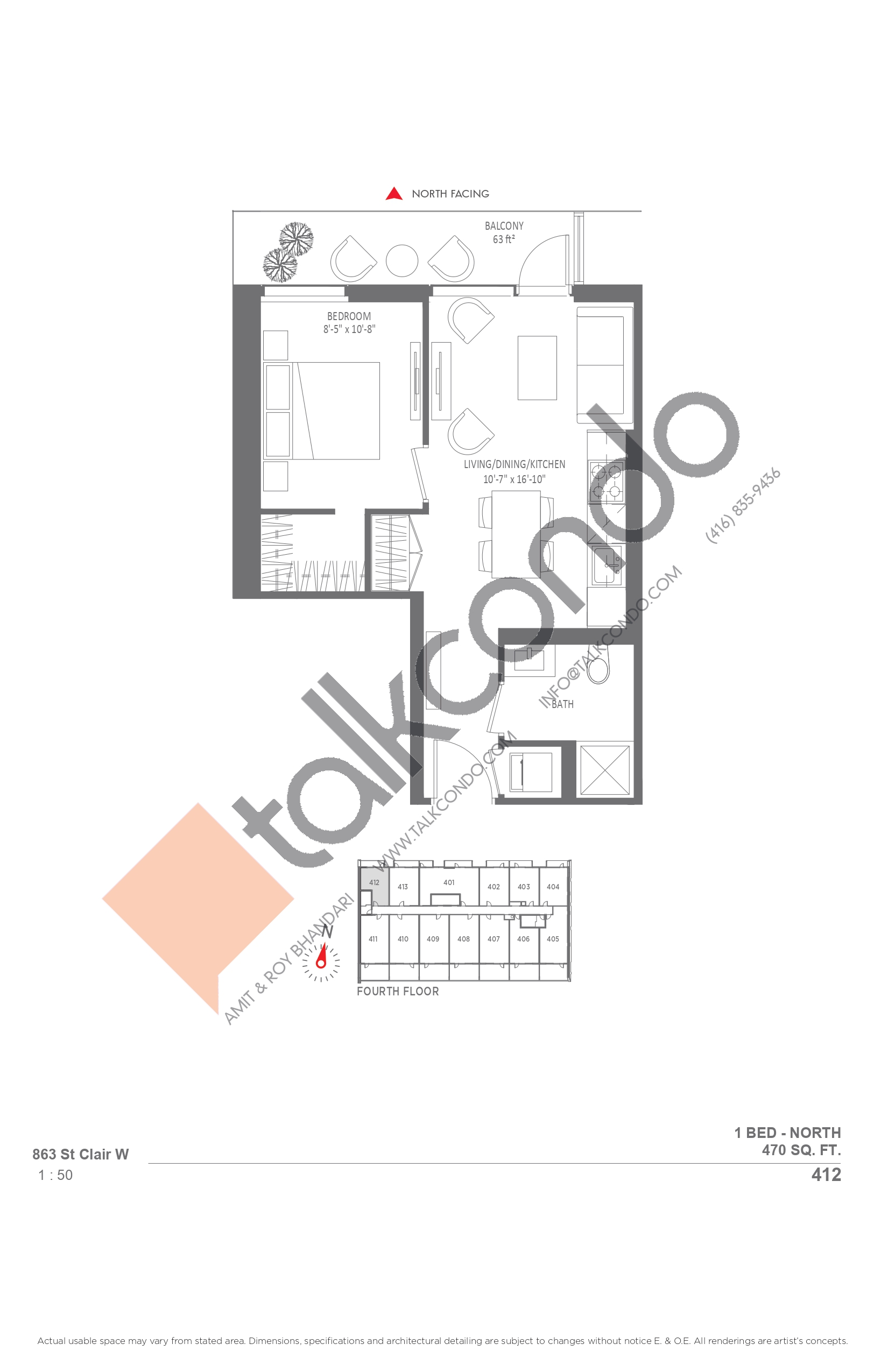 412 Floor Plan at Monza Condos - 470 sq.ft