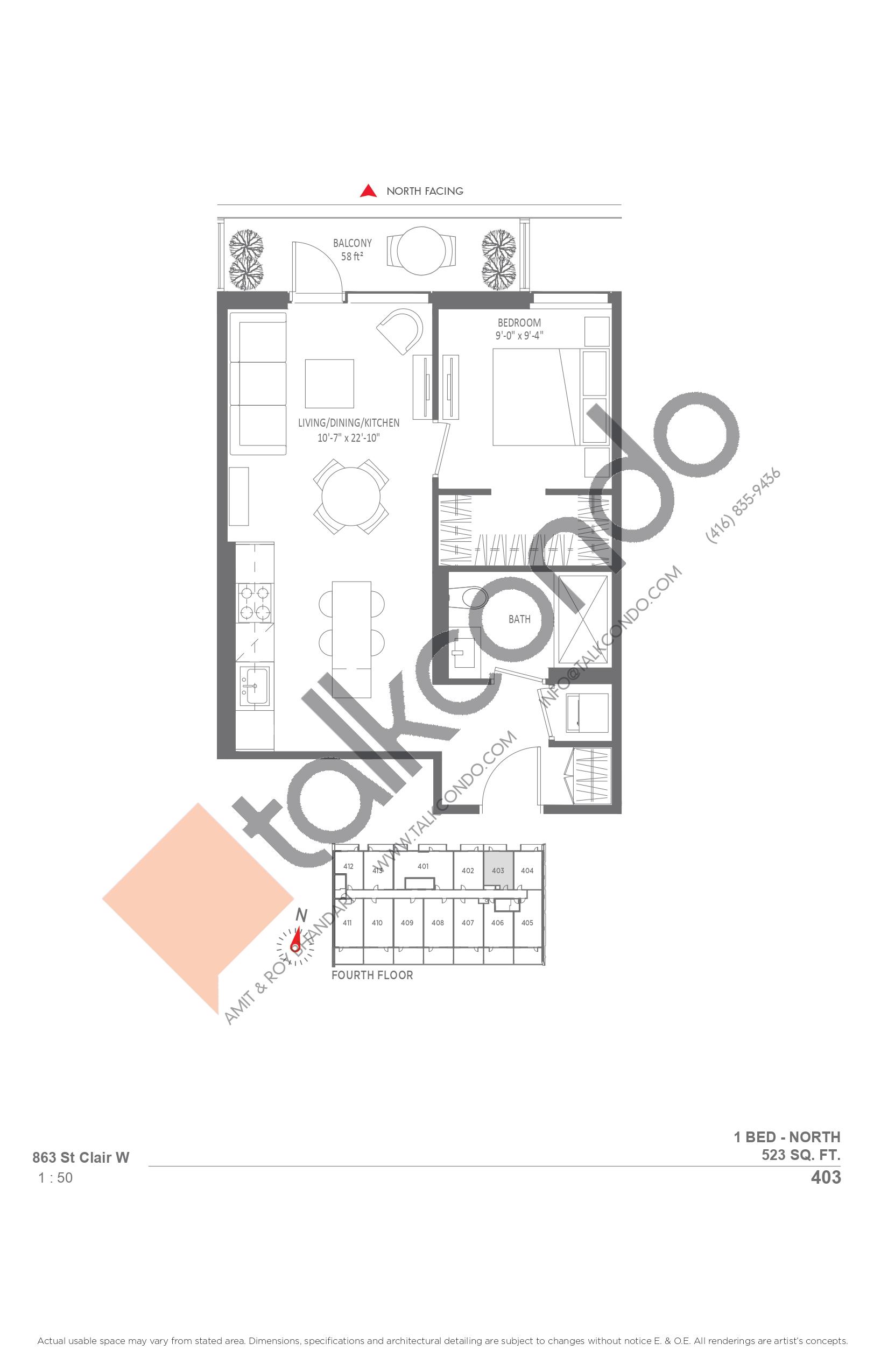 403 Floor Plan at Monza Condos - 523 sq.ft