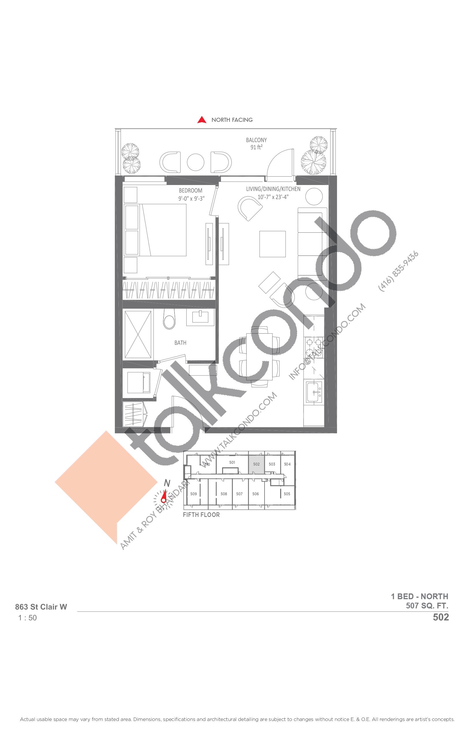 502 Floor Plan at Monza Condos - 507 sq.ft
