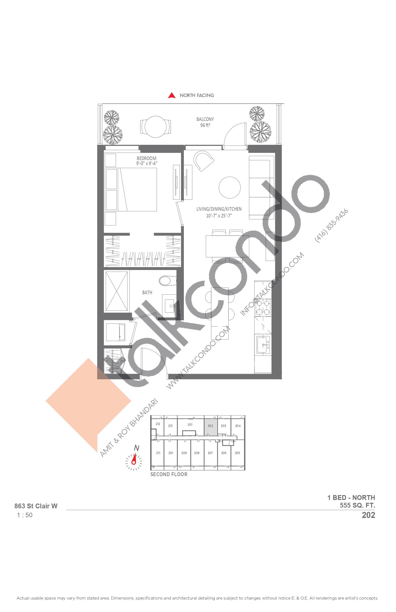 202 Floor Plan at Monza Condos - 555 sq.ft