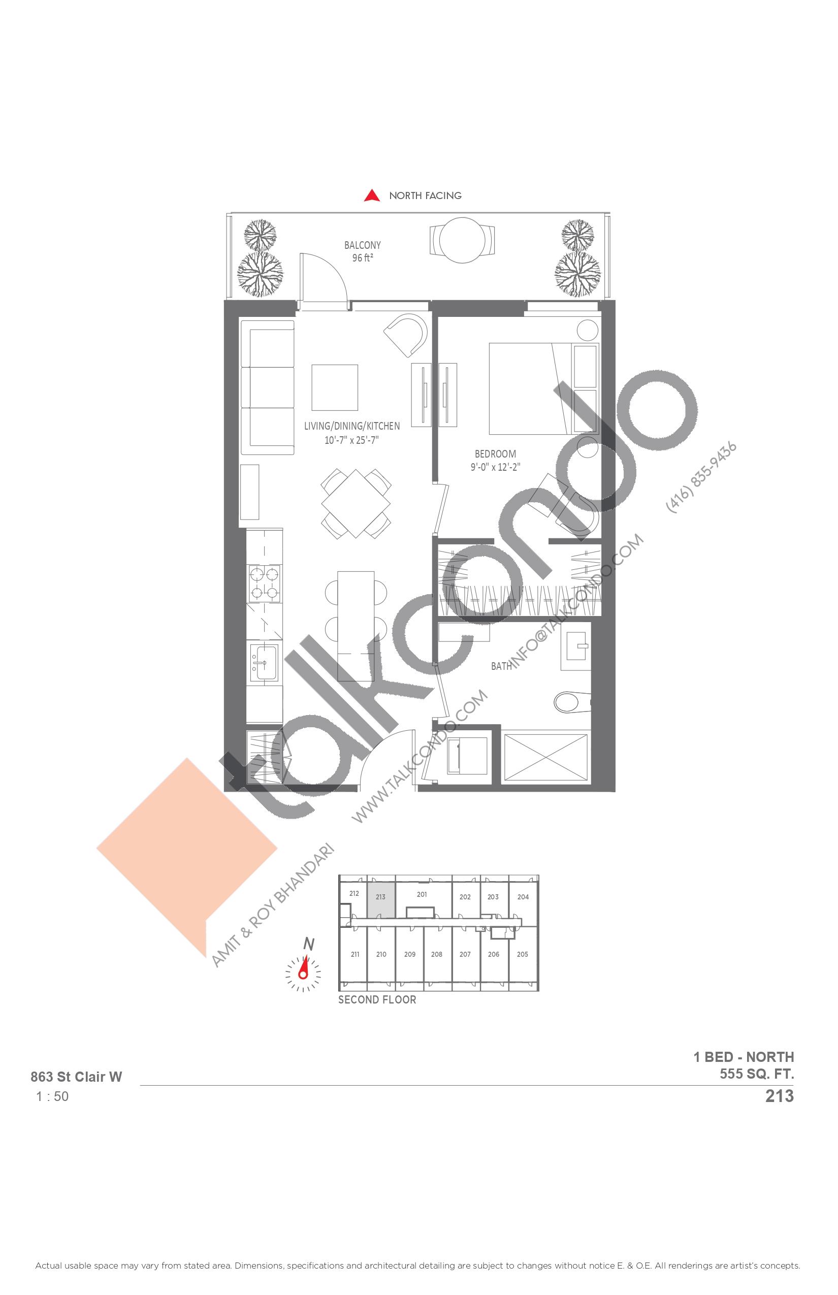 213 Floor Plan at Monza Condos - 555 sq.ft