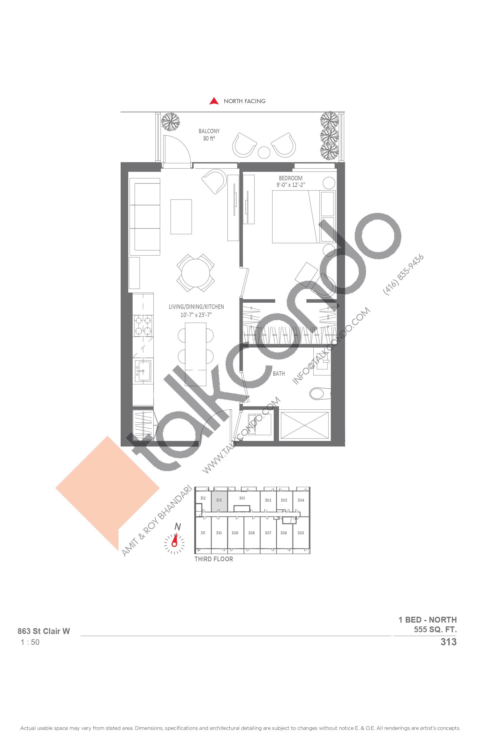 313 Floor Plan at Monza Condos - 555 sq.ft