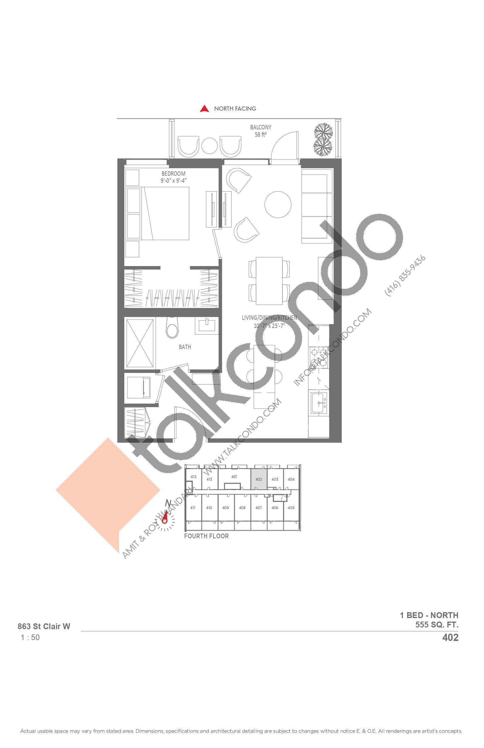 402 Floor Plan at Monza Condos - 555 sq.ft