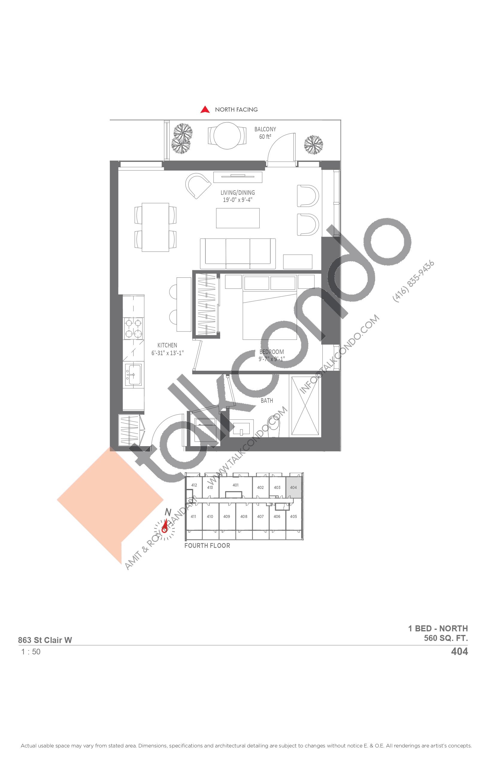 404 Floor Plan at Monza Condos - 560 sq.ft