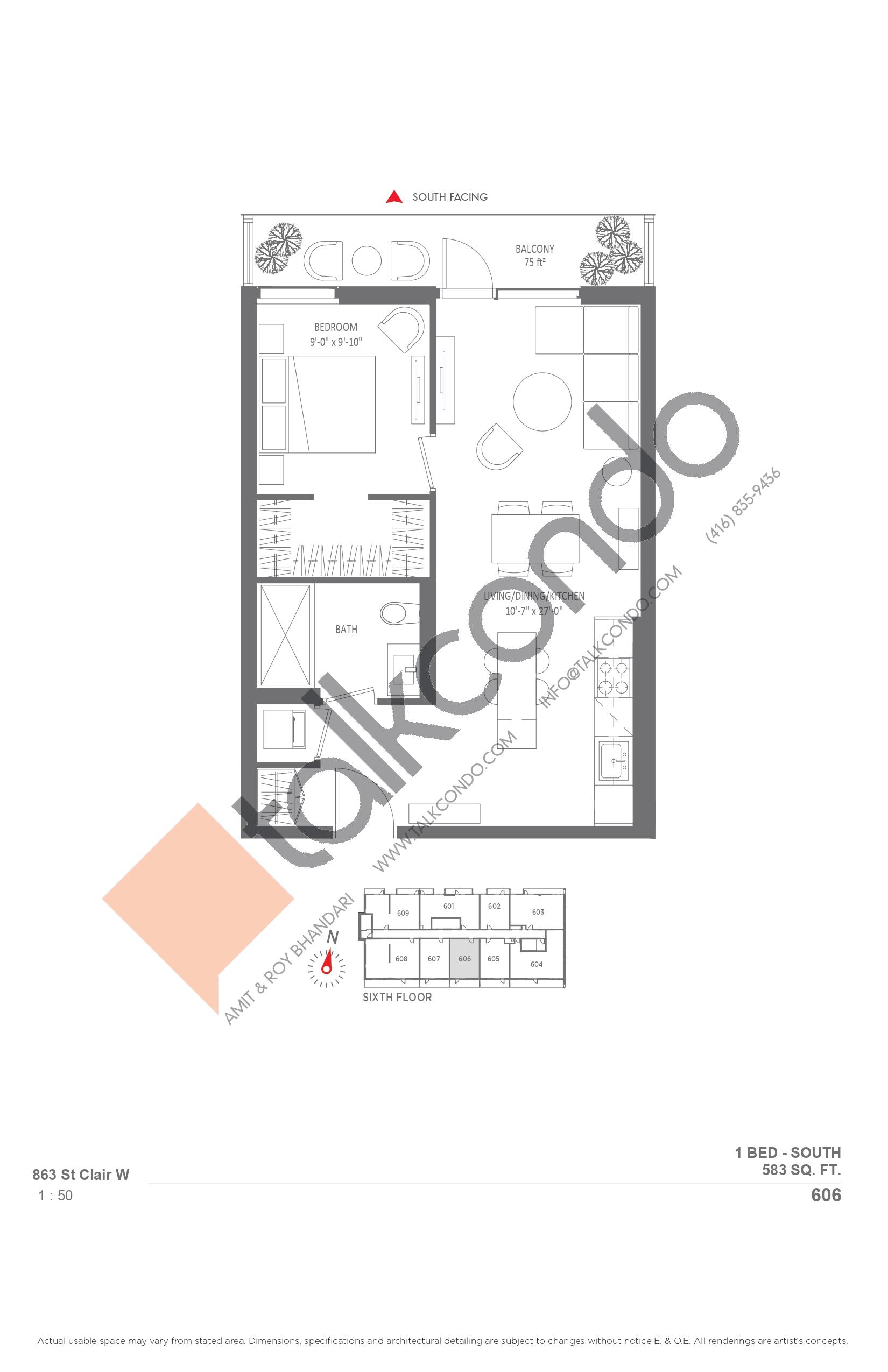 606 Floor Plan at Monza Condos - 583 sq.ft