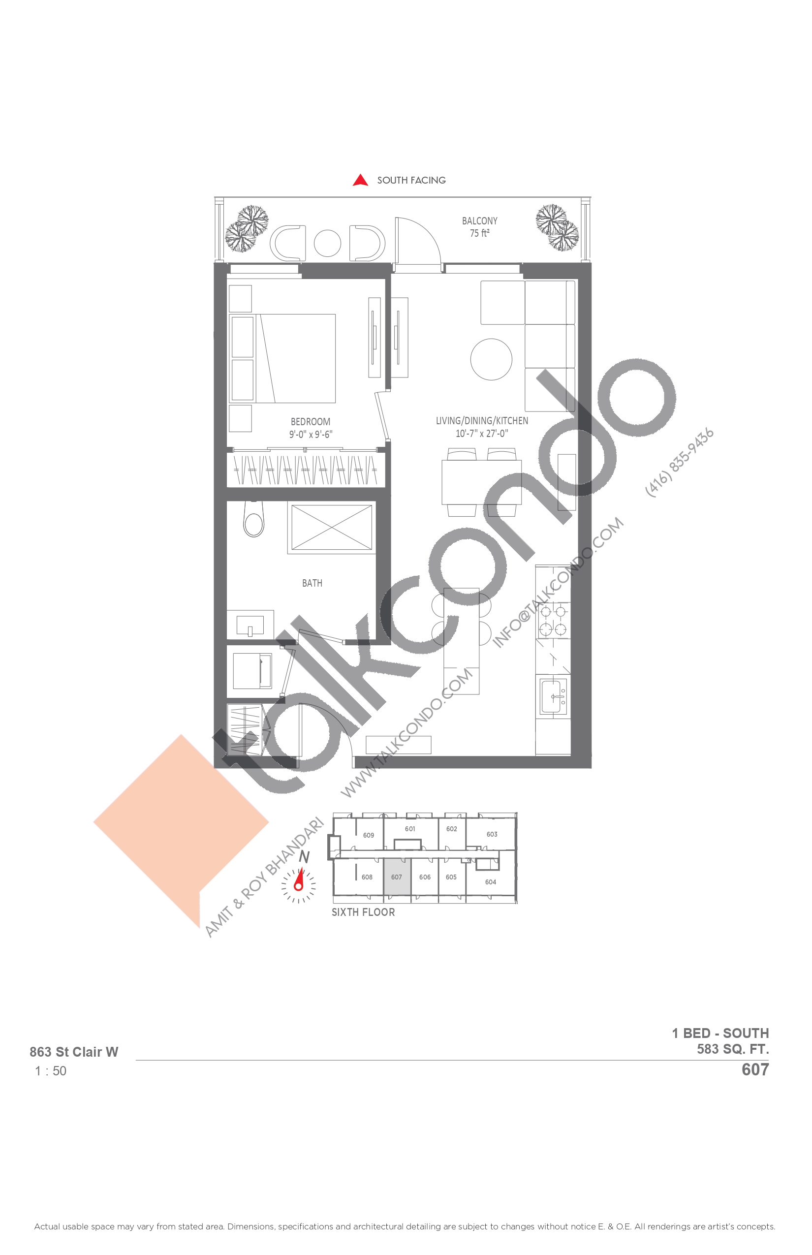 607 Floor Plan at Monza Condos - 583 sq.ft