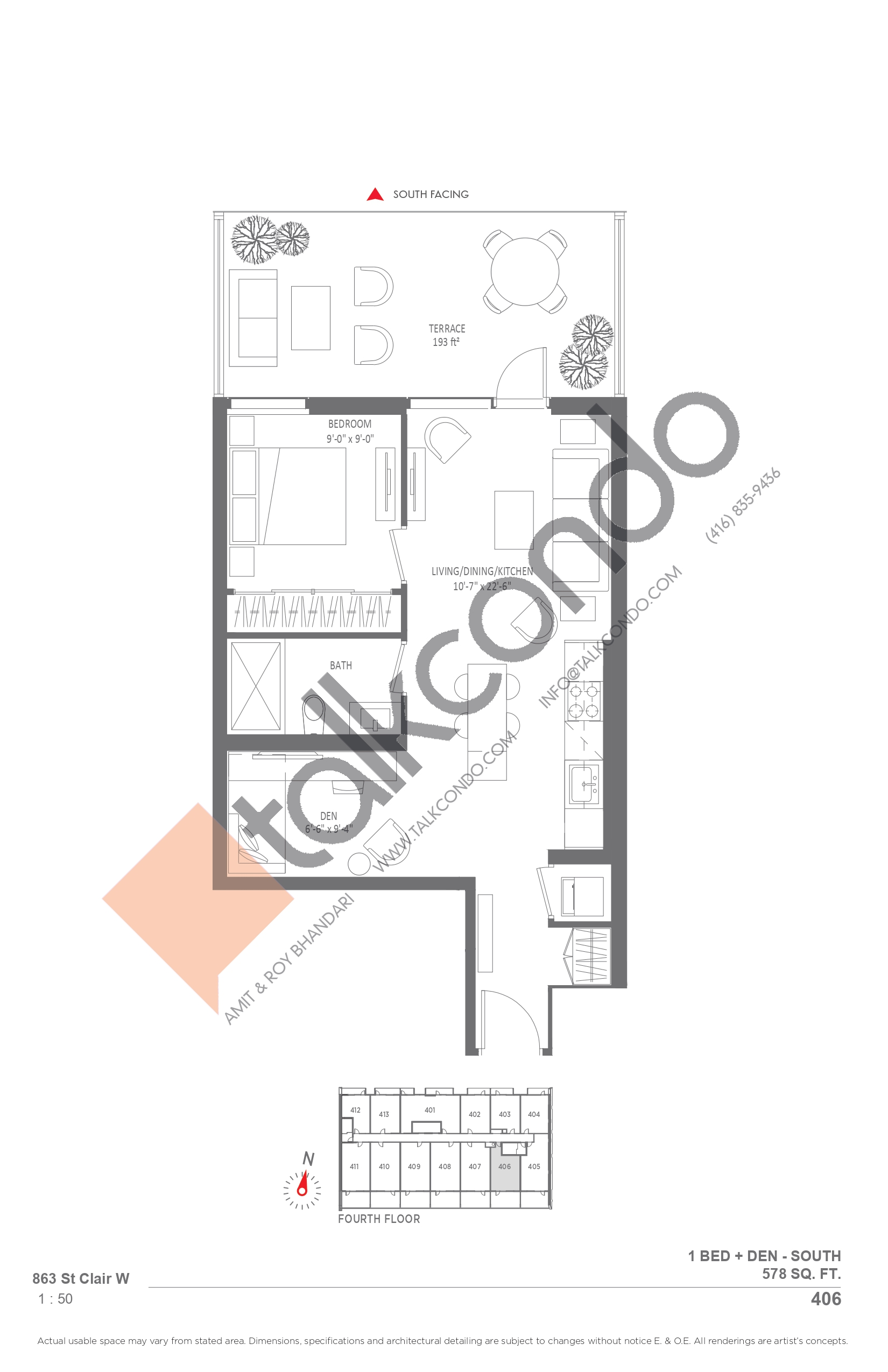 406 Floor Plan at Monza Condos - 578 sq.ft