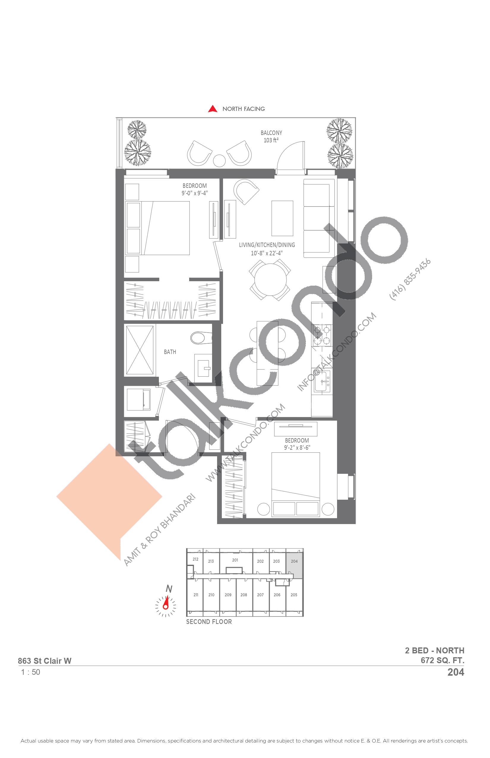 204 Floor Plan at Monza Condos - 672 sq.ft