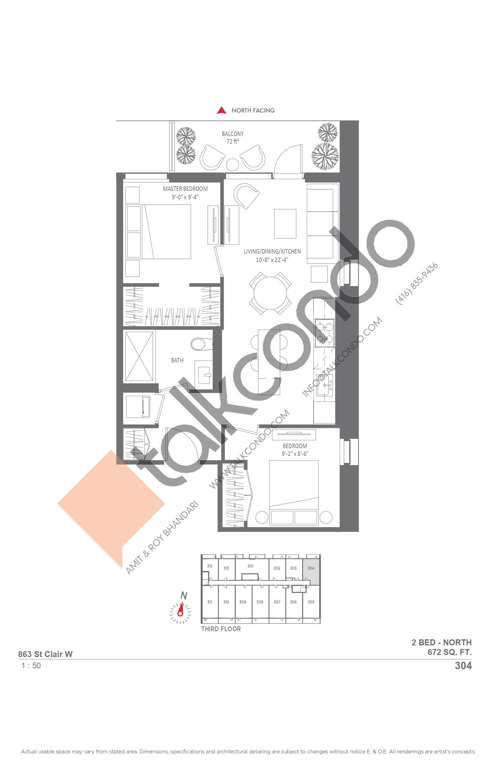 304 Floor Plan at Monza Condos - 672 sq.ft