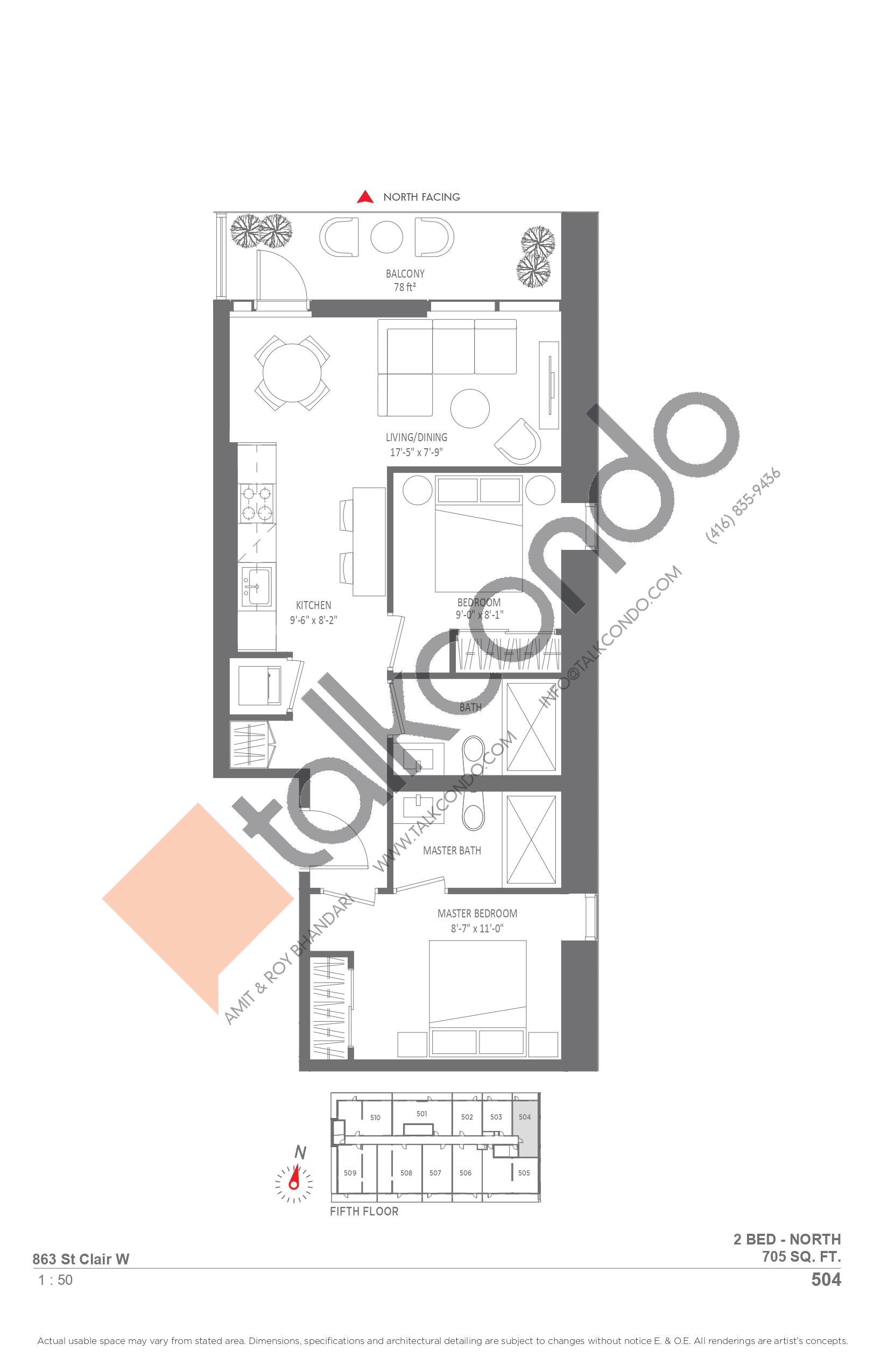 504 Floor Plan at Monza Condos - 705 sq.ft