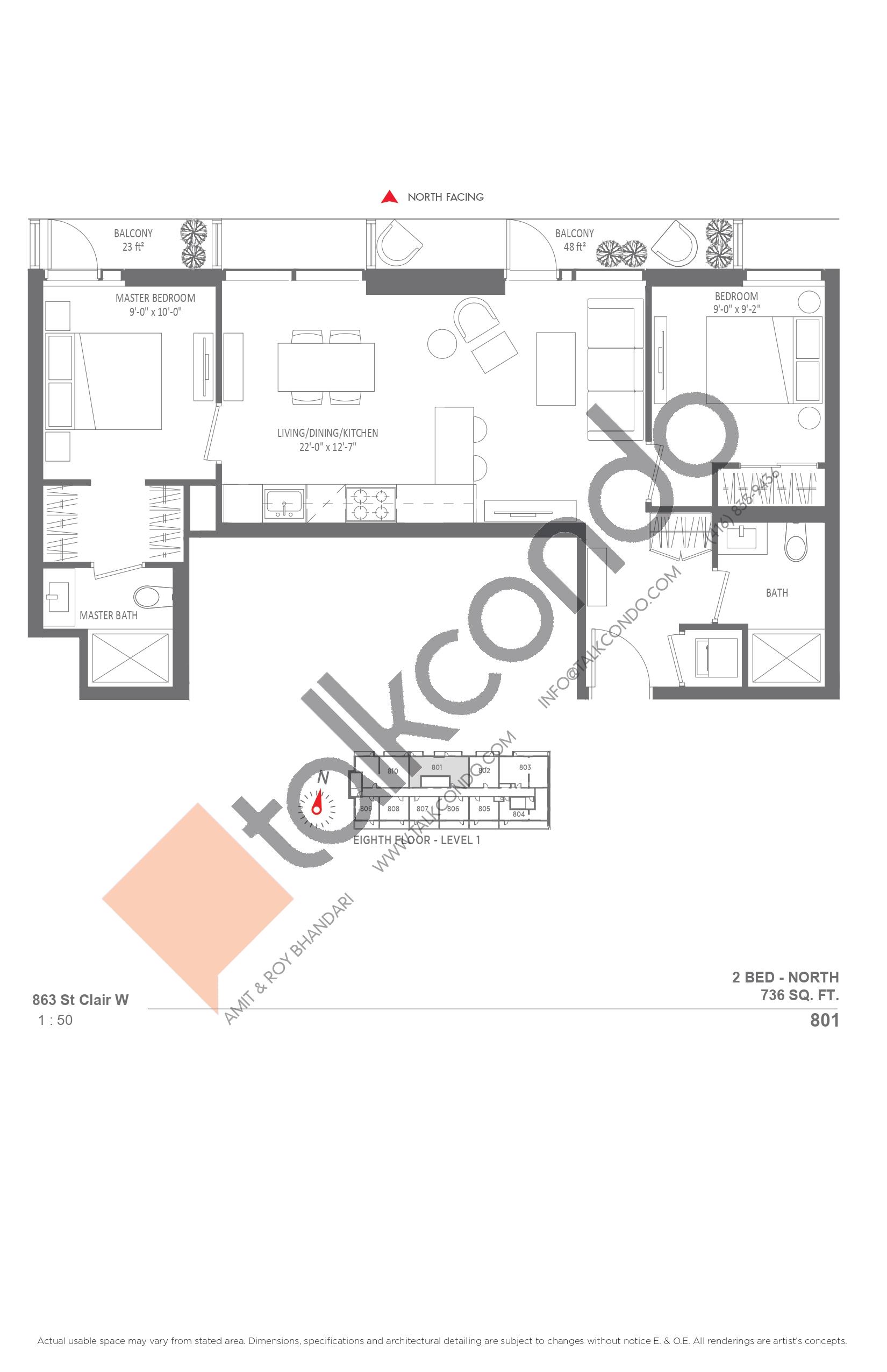 801 Floor Plan at Monza Condos - 736 sq.ft