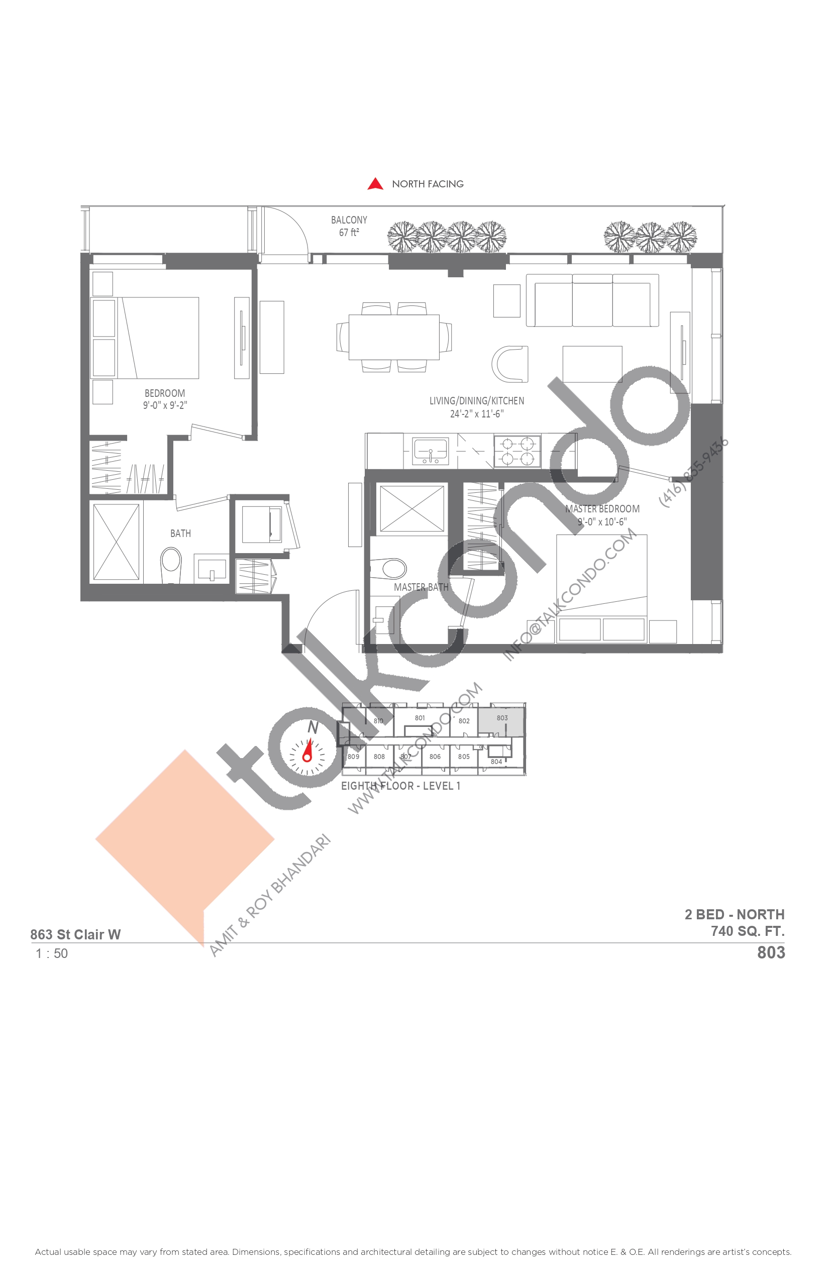 803 Floor Plan at Monza Condos - 740 sq.ft
