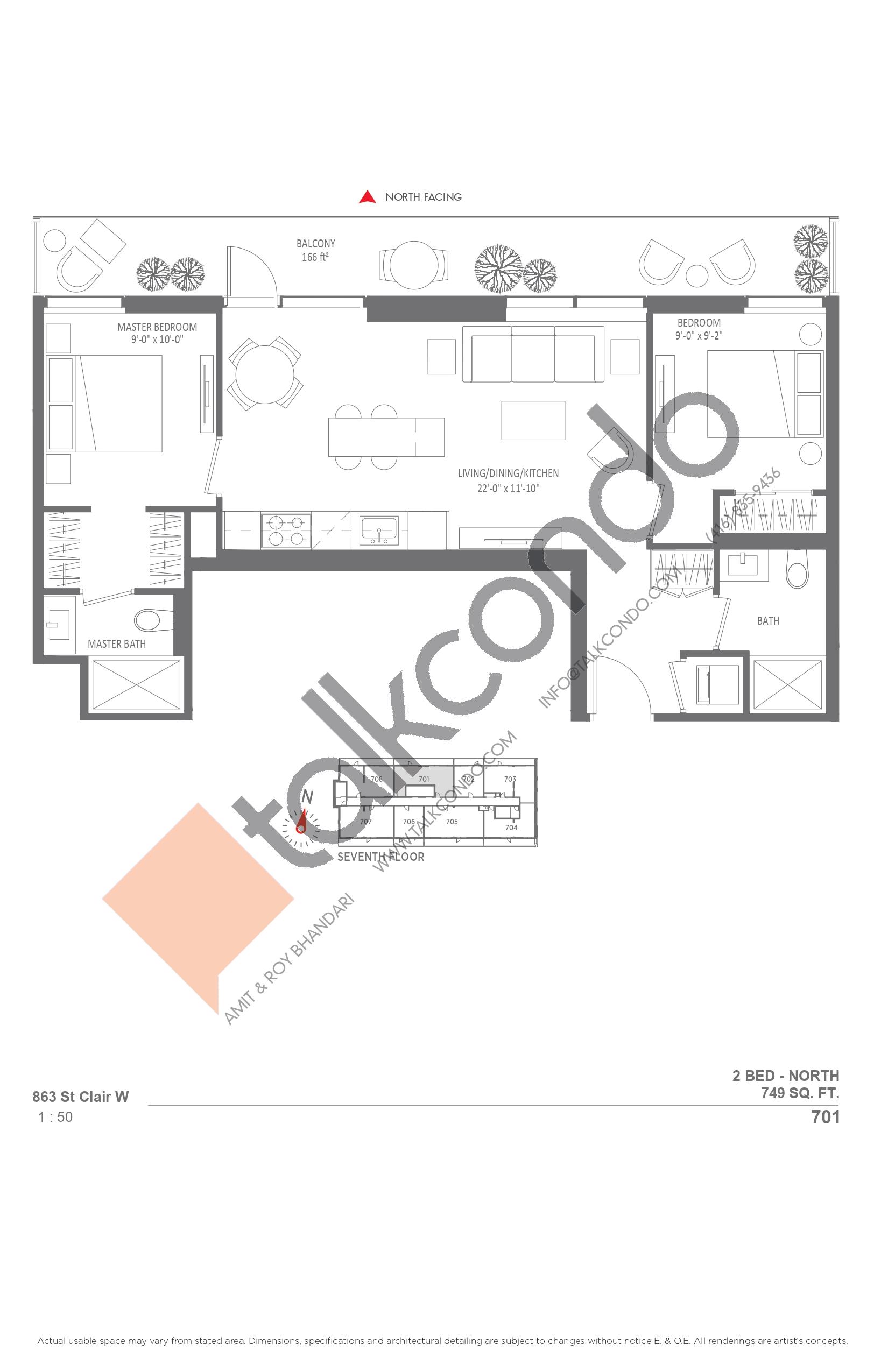701 Floor Plan at Monza Condos - 749 sq.ft