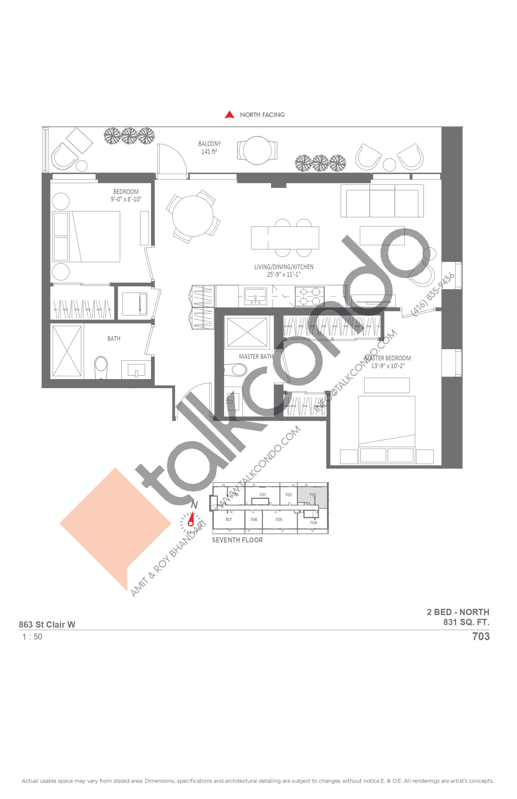 703 Floor Plan at Monza Condos - 831 sq.ft
