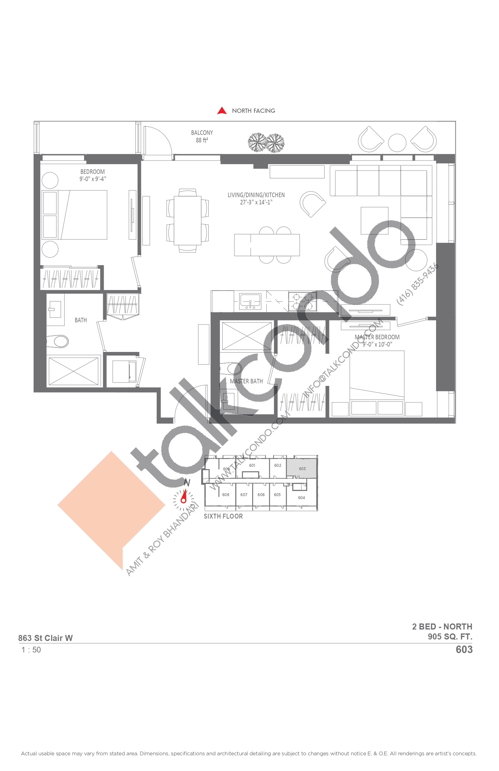 603 Floor Plan at Monza Condos - 905 sq.ft