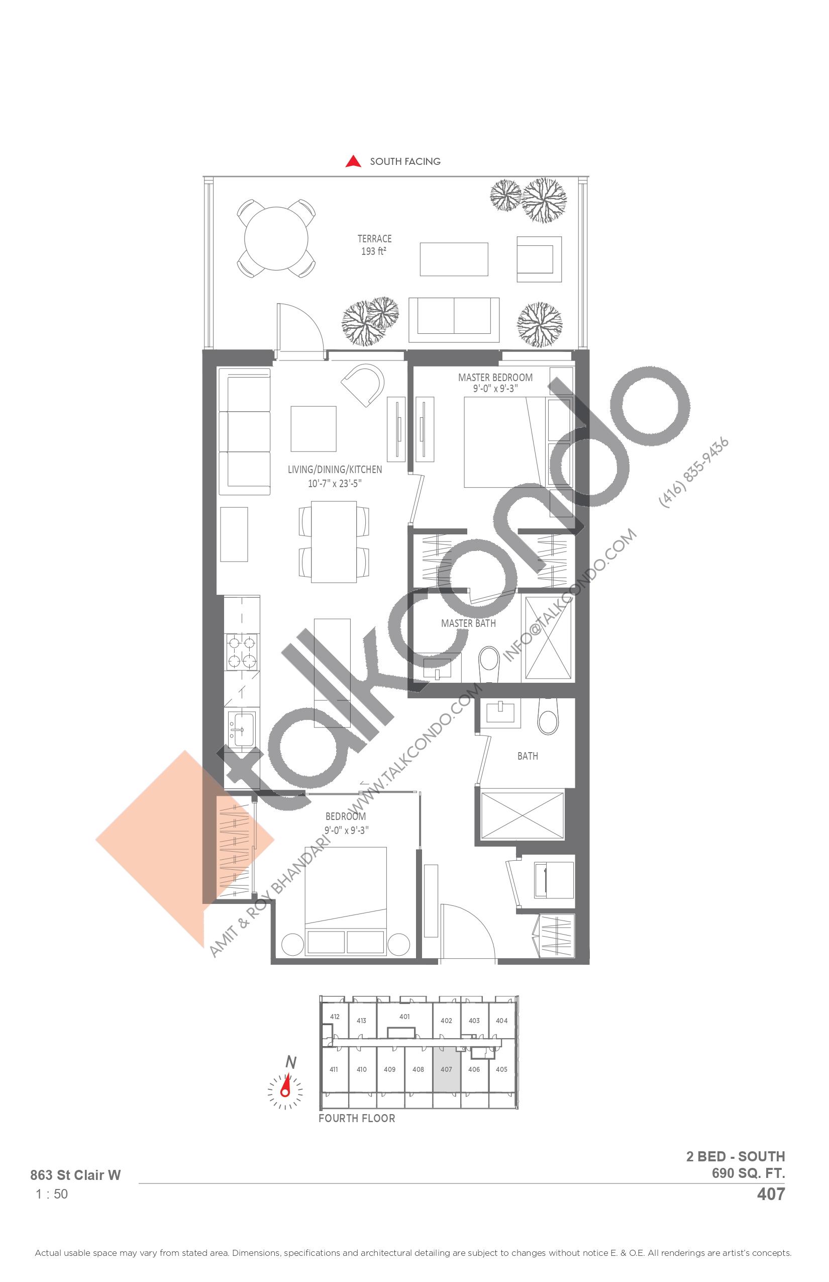407 Floor Plan at Monza Condos - 690 sq.ft