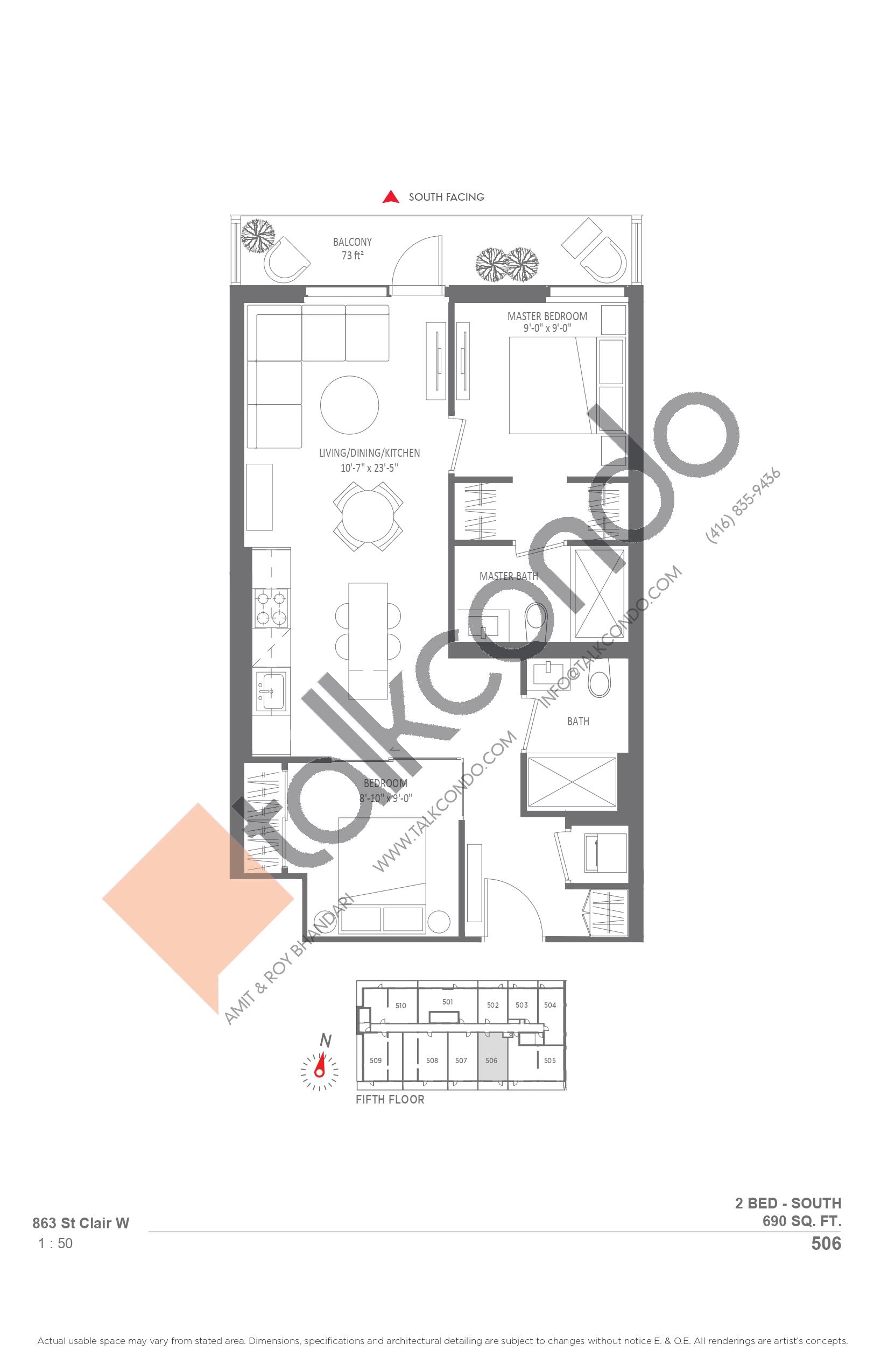 506 Floor Plan at Monza Condos - 690 sq.ft