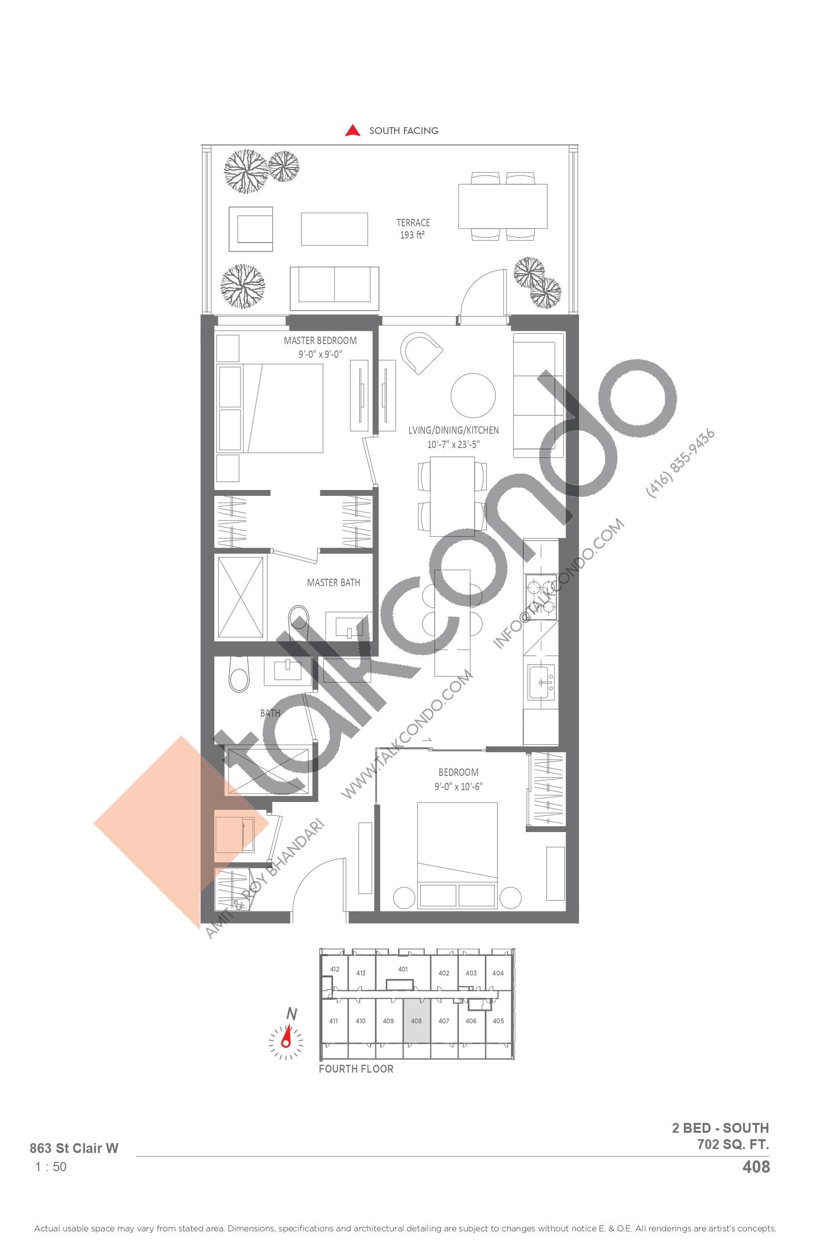 408 Floor Plan at Monza Condos - 702 sq.ft