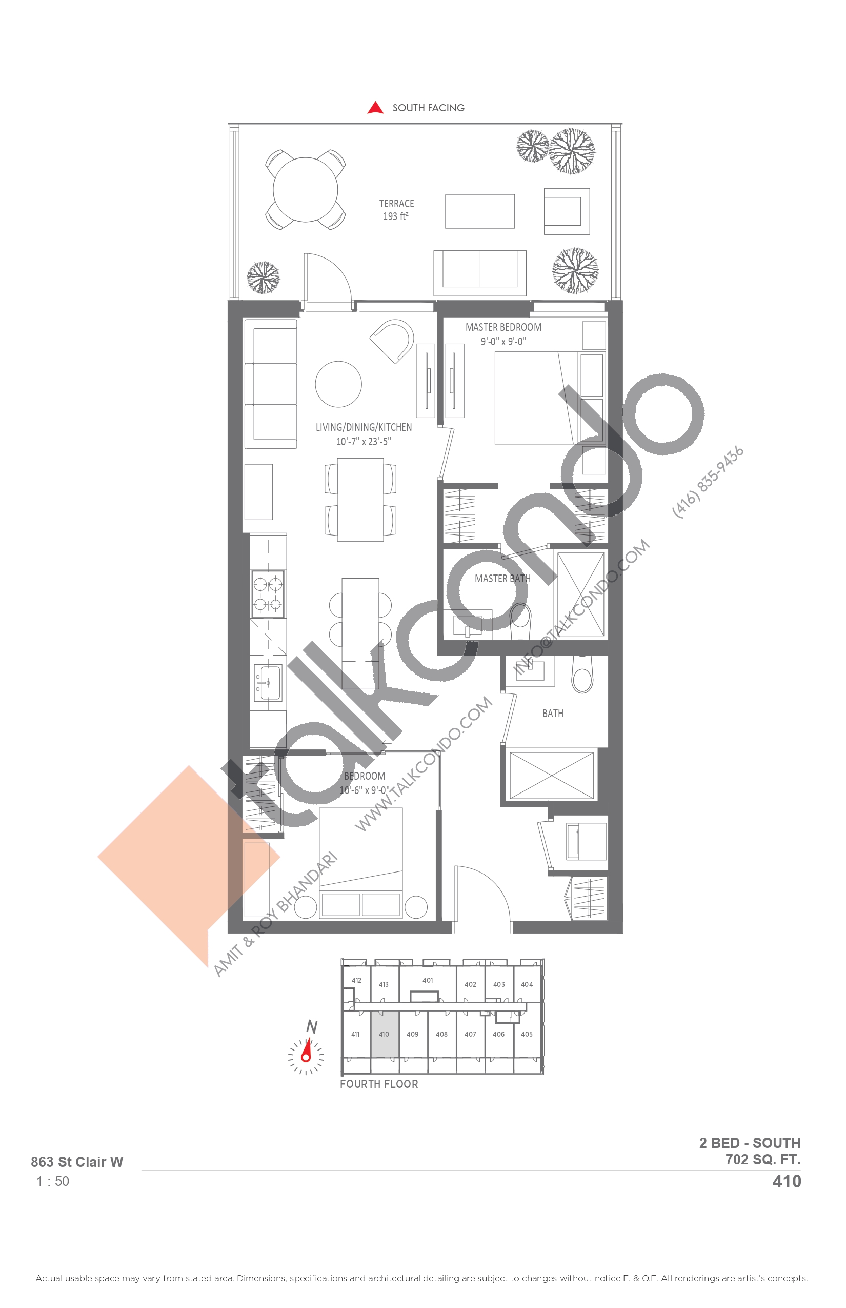 410 Floor Plan at Monza Condos - 702 sq.ft
