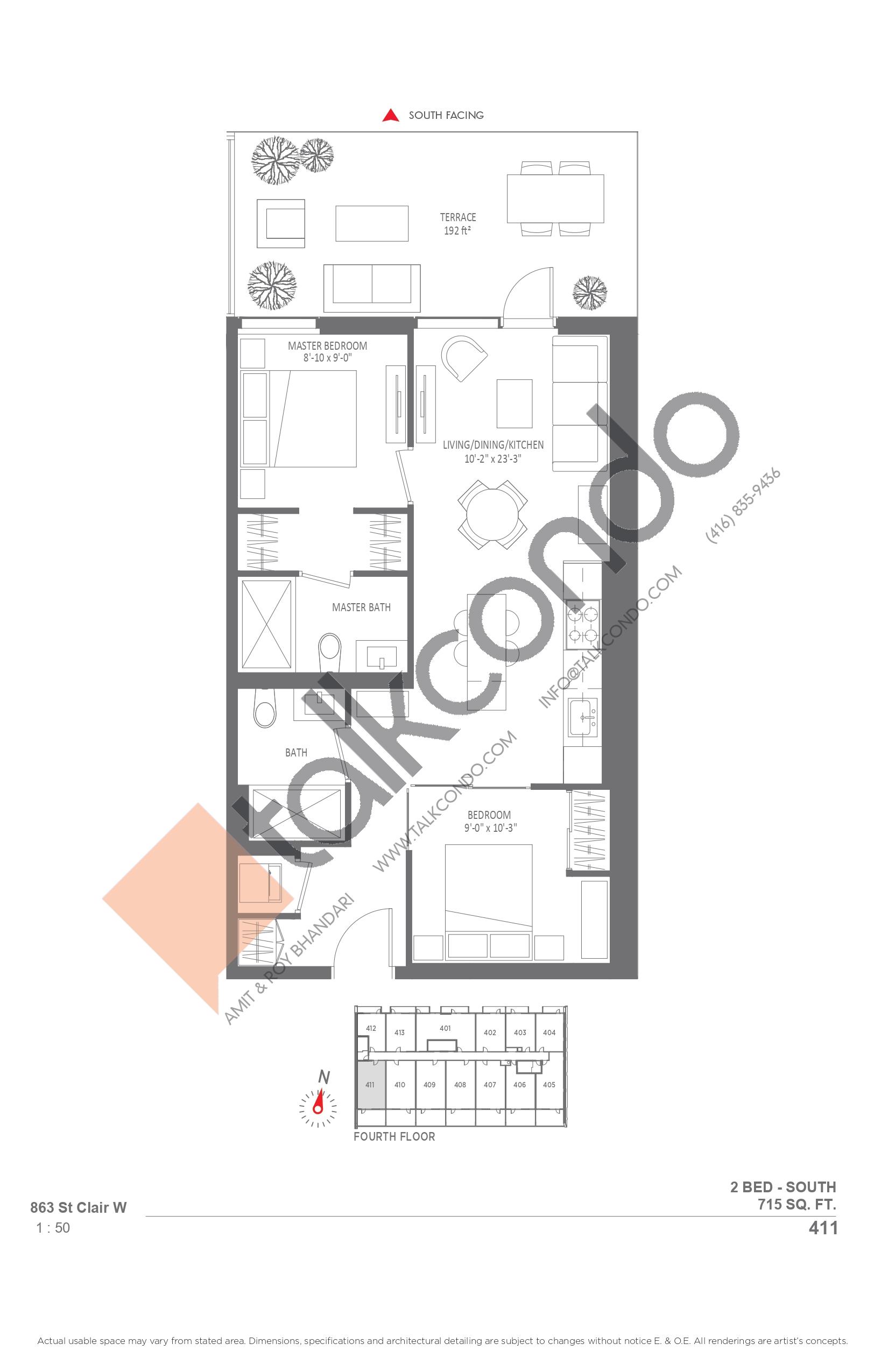 411 Floor Plan at Monza Condos - 715 sq.ft