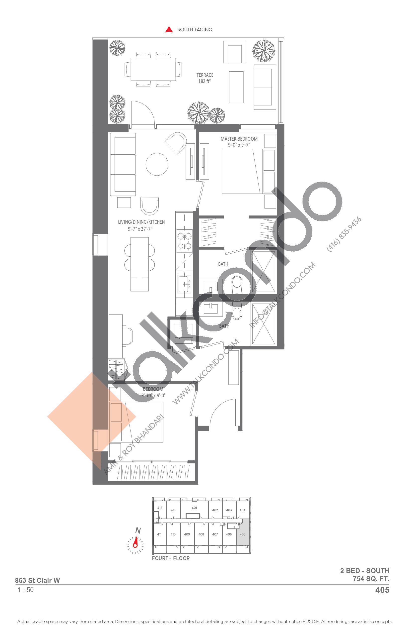 405 Floor Plan at Monza Condos - 754 sq.ft