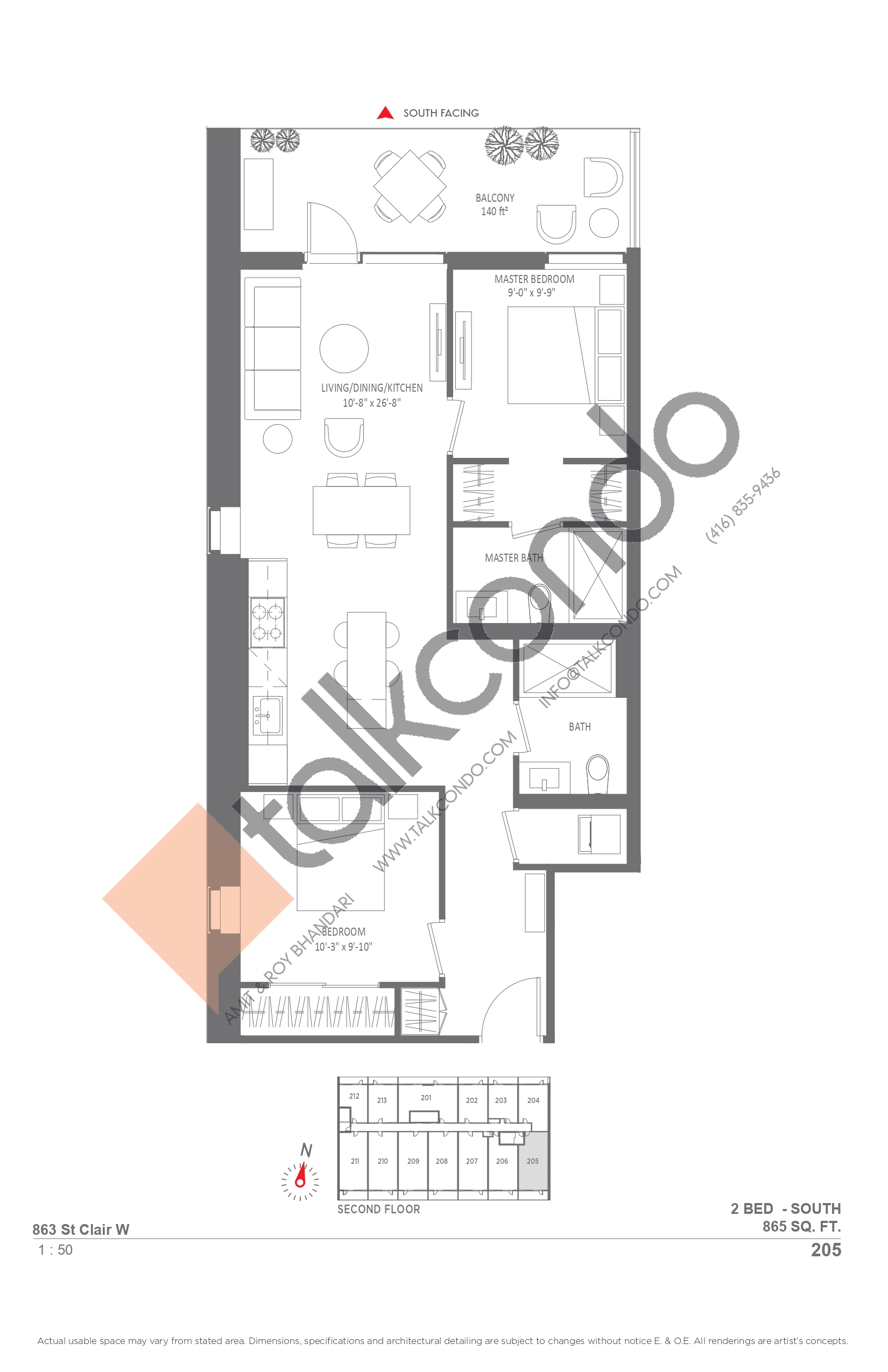 205 Floor Plan at Monza Condos - 865 sq.ft