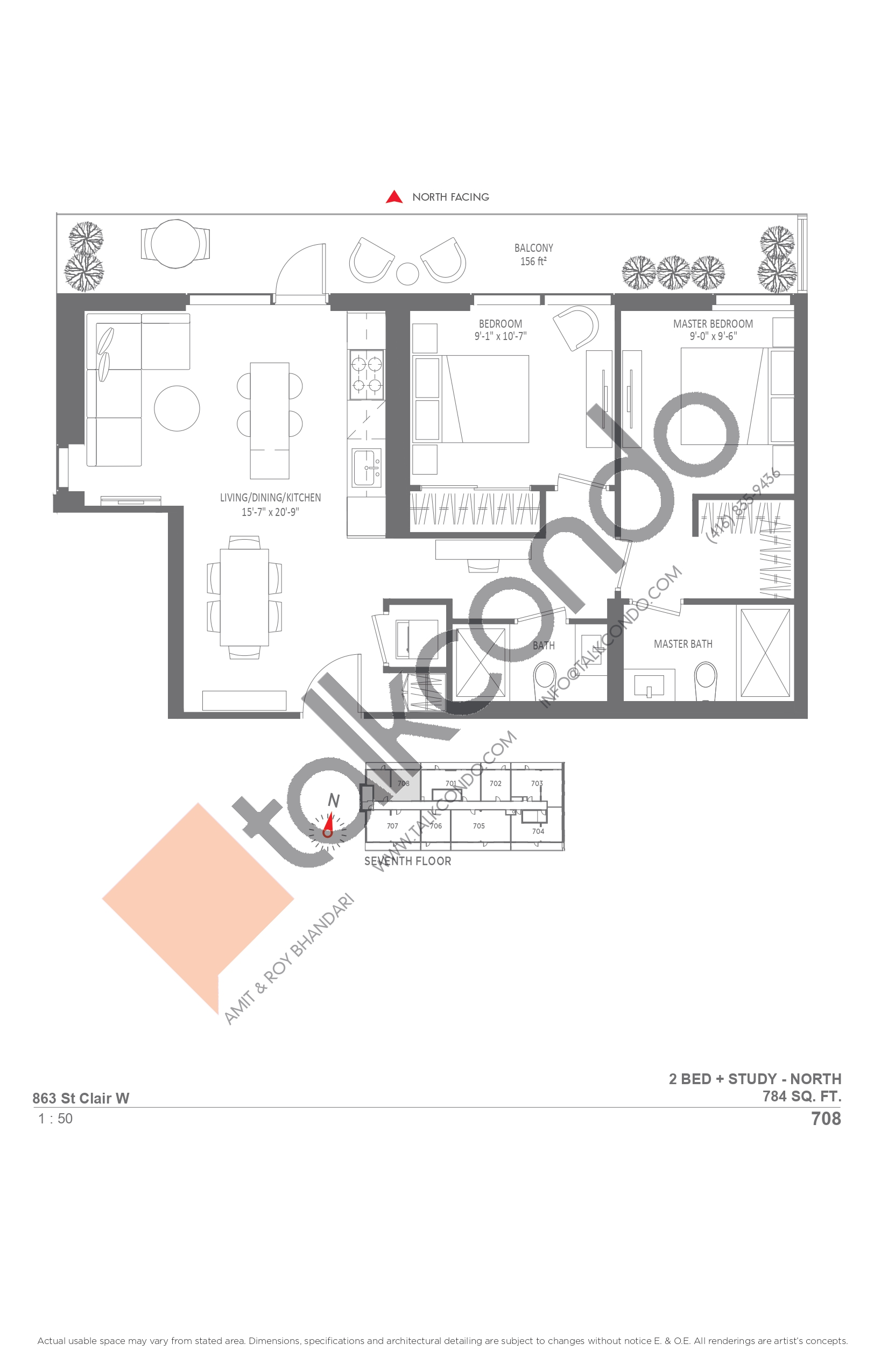 708 Floor Plan at Monza Condos - 784 sq.ft