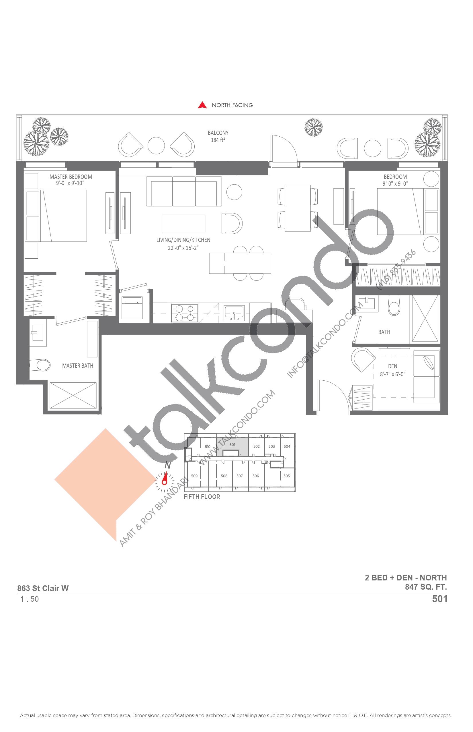 501 Floor Plan at Monza Condos - 847 sq.ft