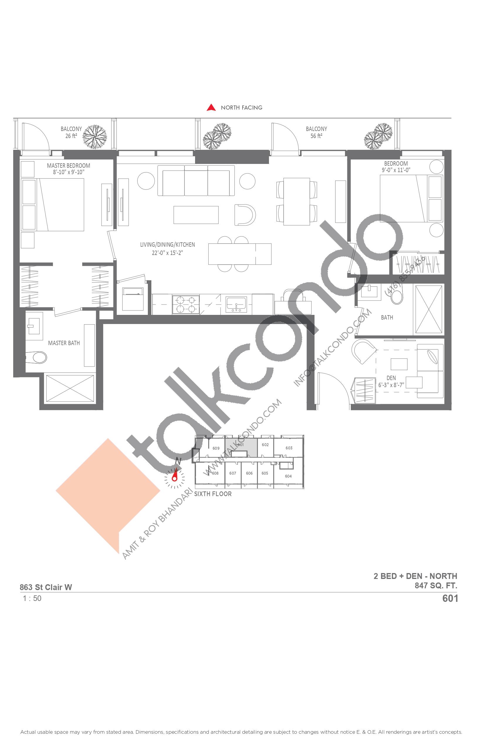 601 Floor Plan at Monza Condos - 847 sq.ft