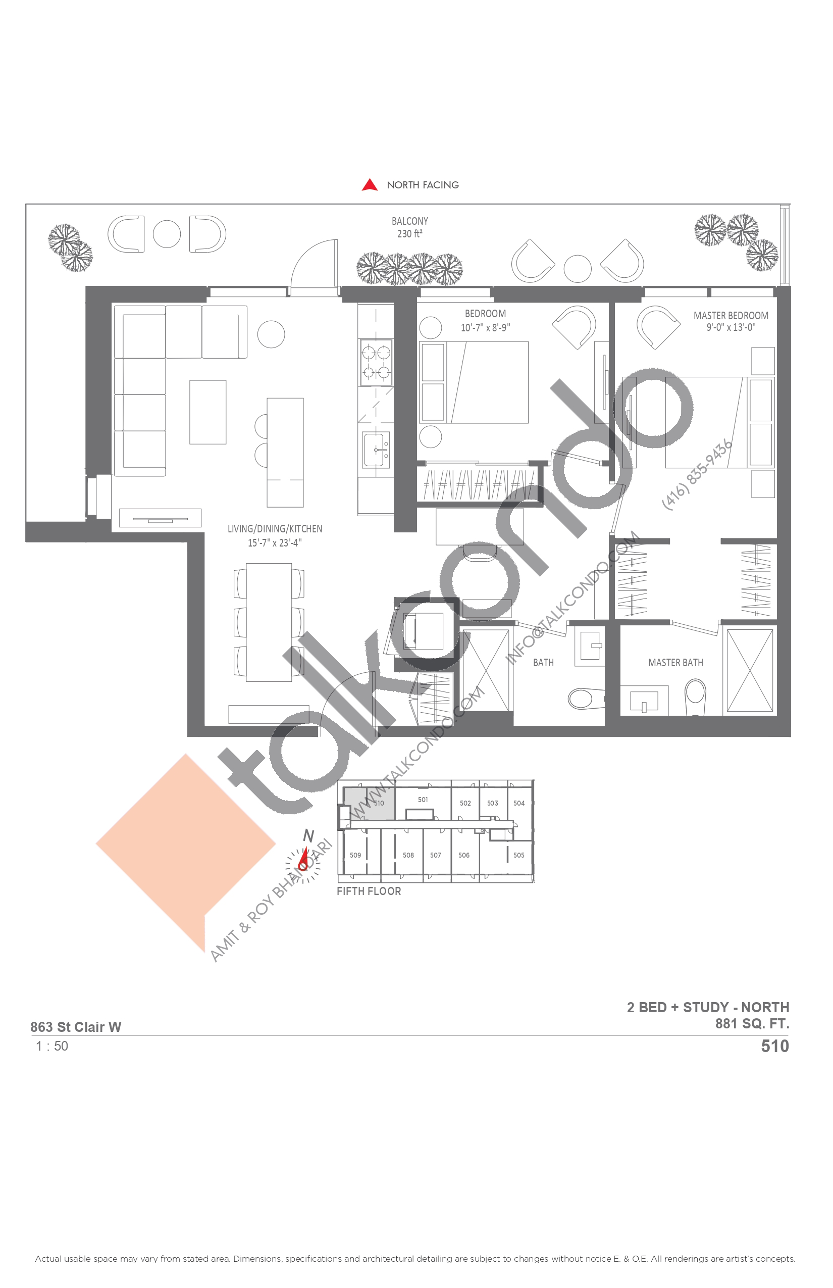 510 Floor Plan at Monza Condos - 881 sq.ft