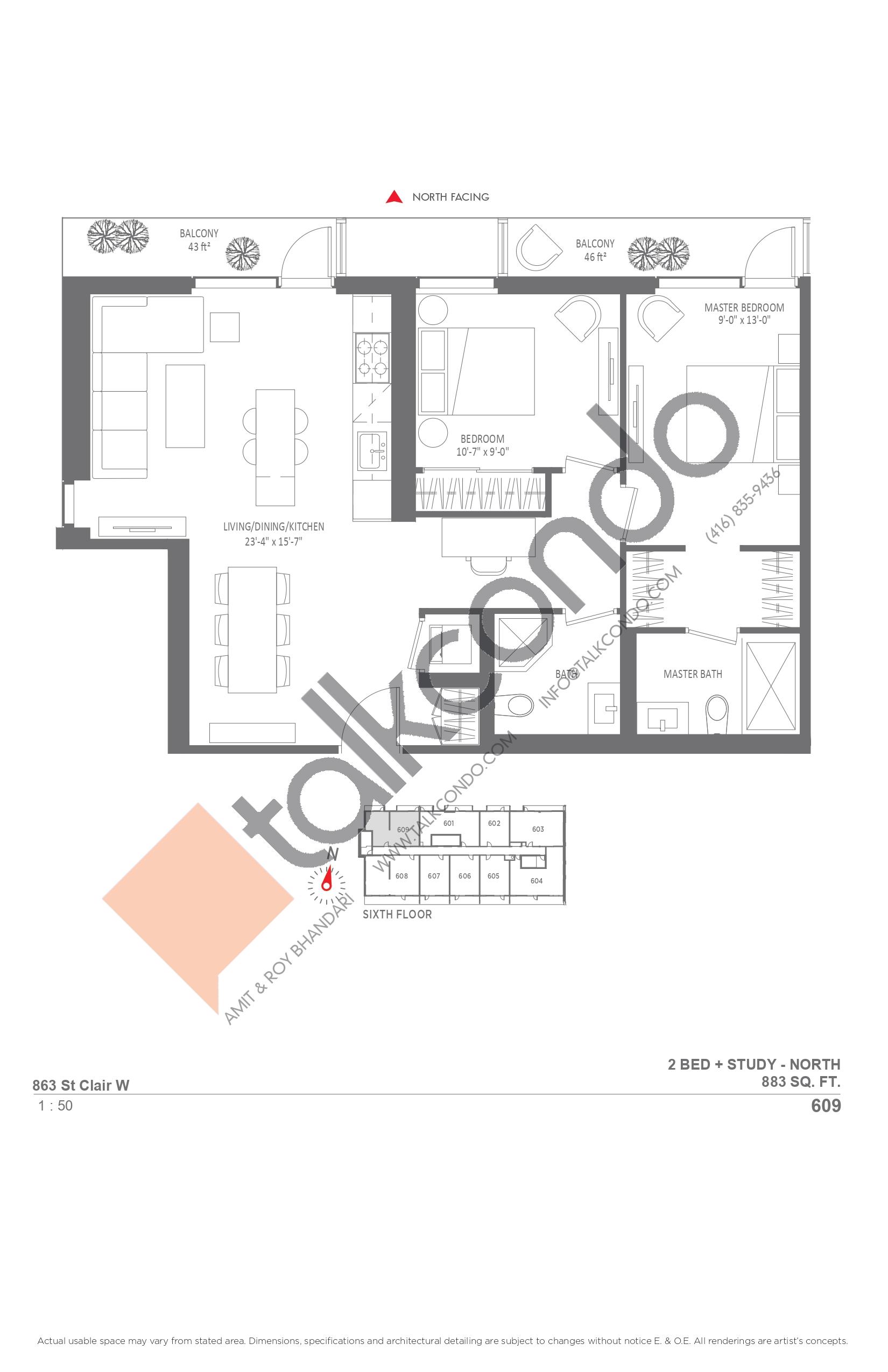 609 Floor Plan at Monza Condos - 883 sq.ft