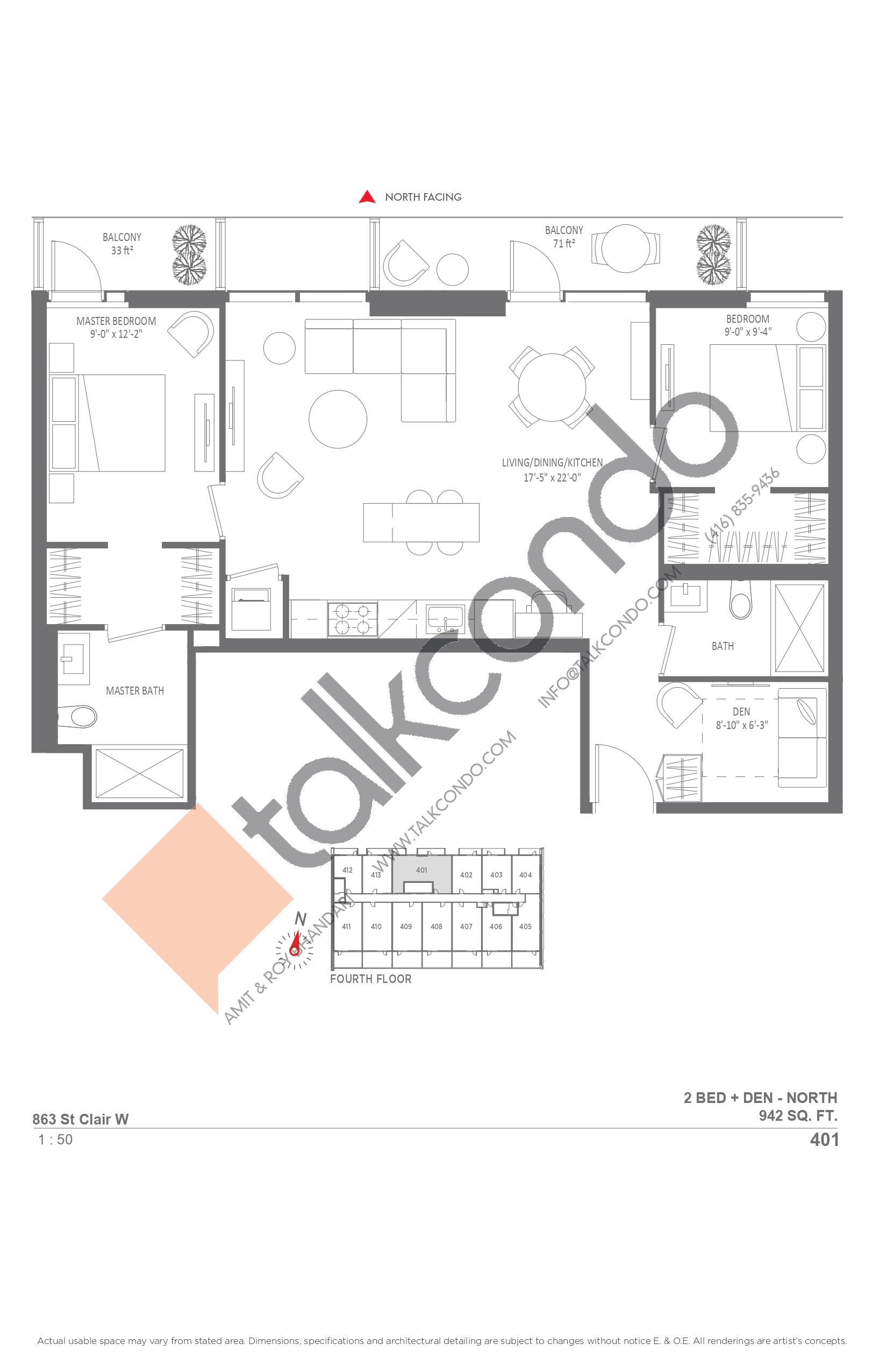 401 Floor Plan at Monza Condos - 942 sq.ft