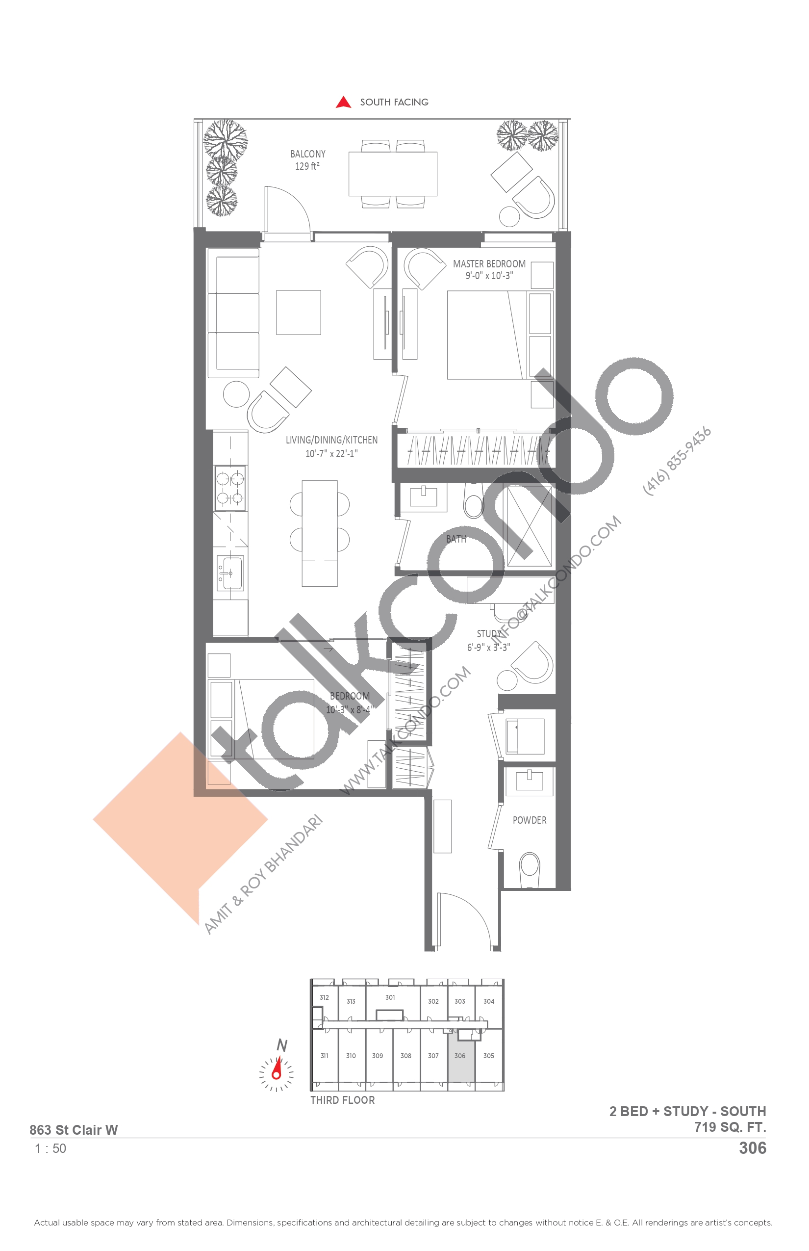 306 Floor Plan at Monza Condos - 719 sq.ft