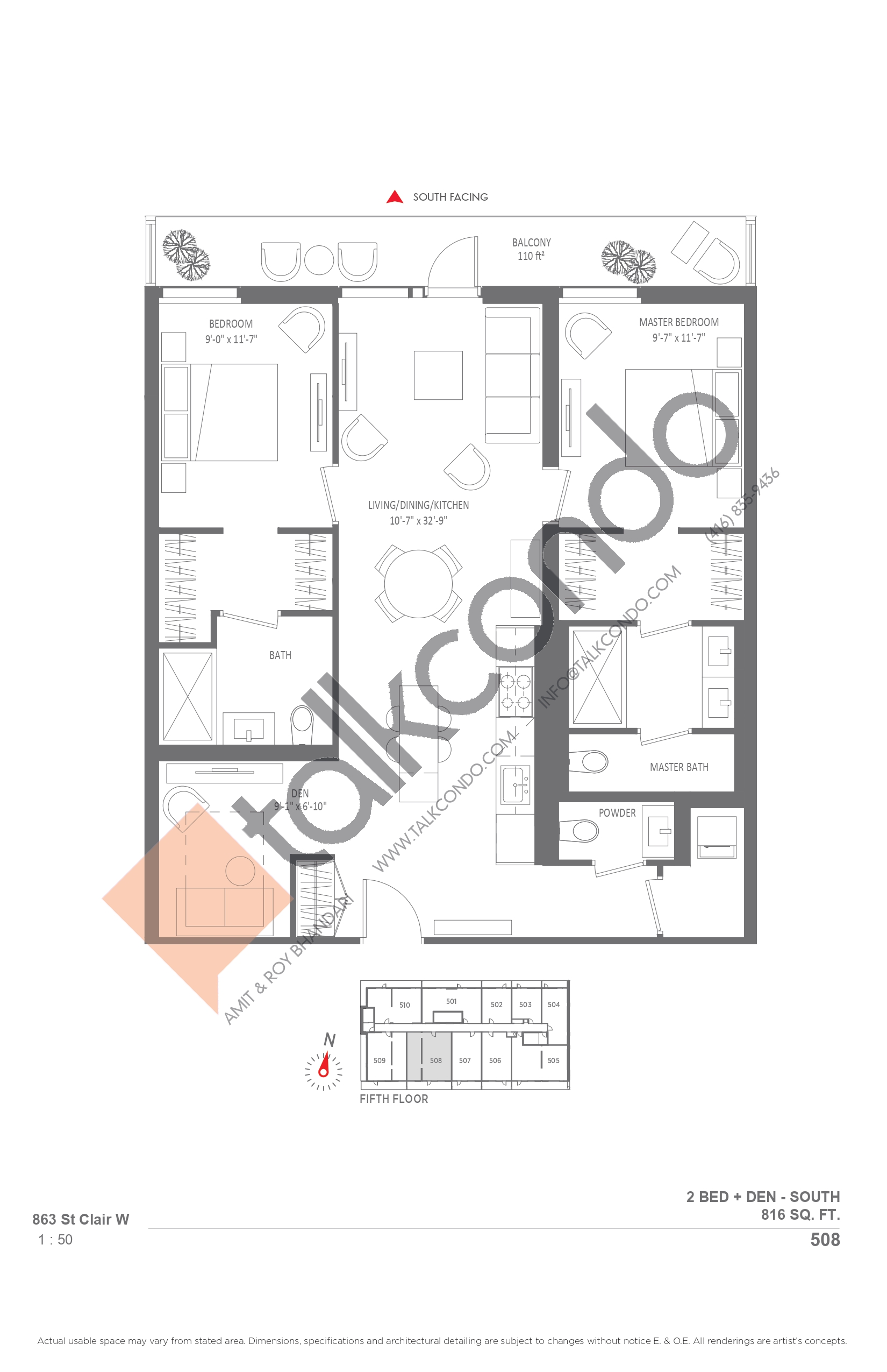 508 Floor Plan at Monza Condos - 816 sq.ft