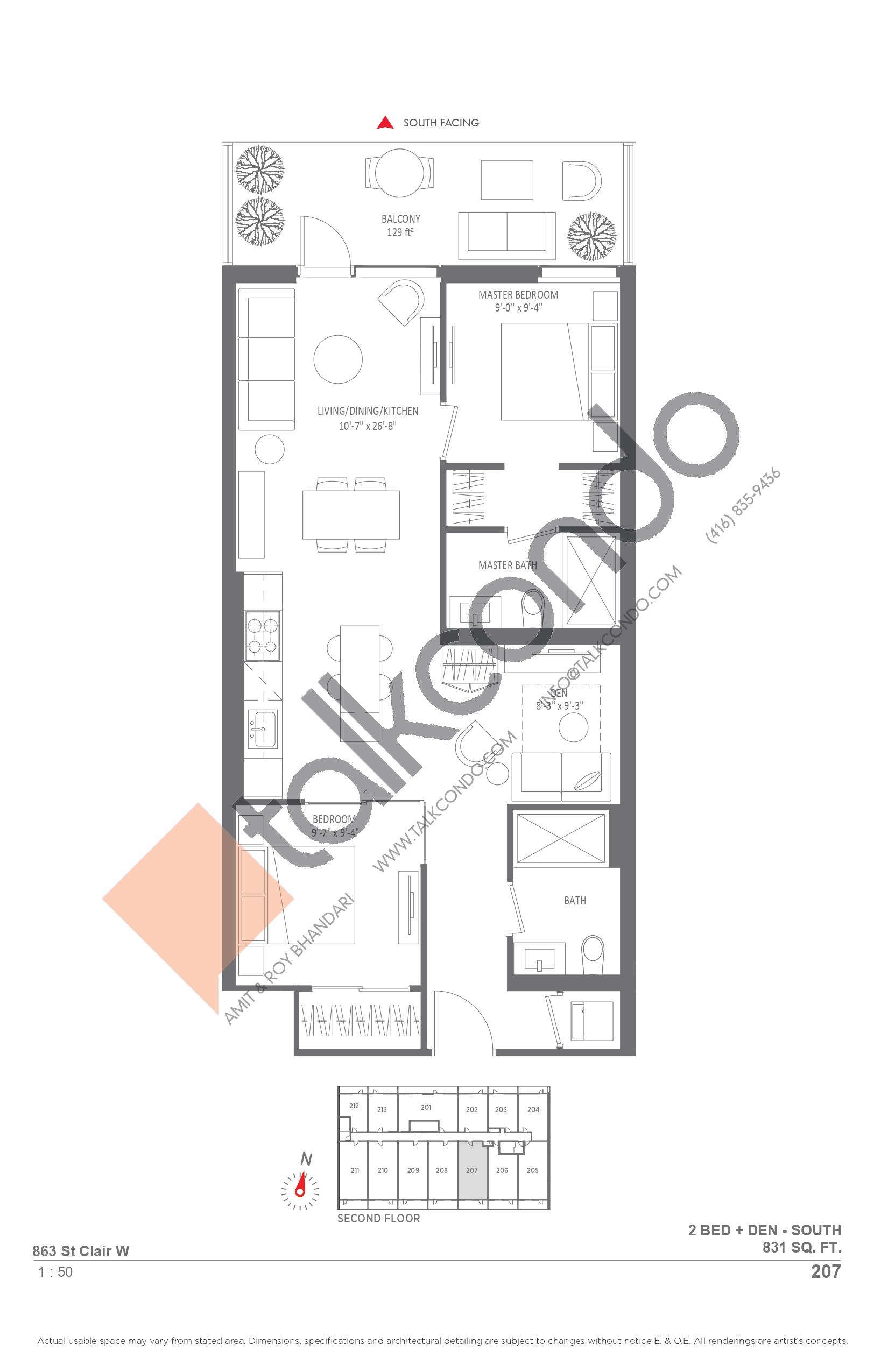 207 Floor Plan at Monza Condos - 831 sq.ft