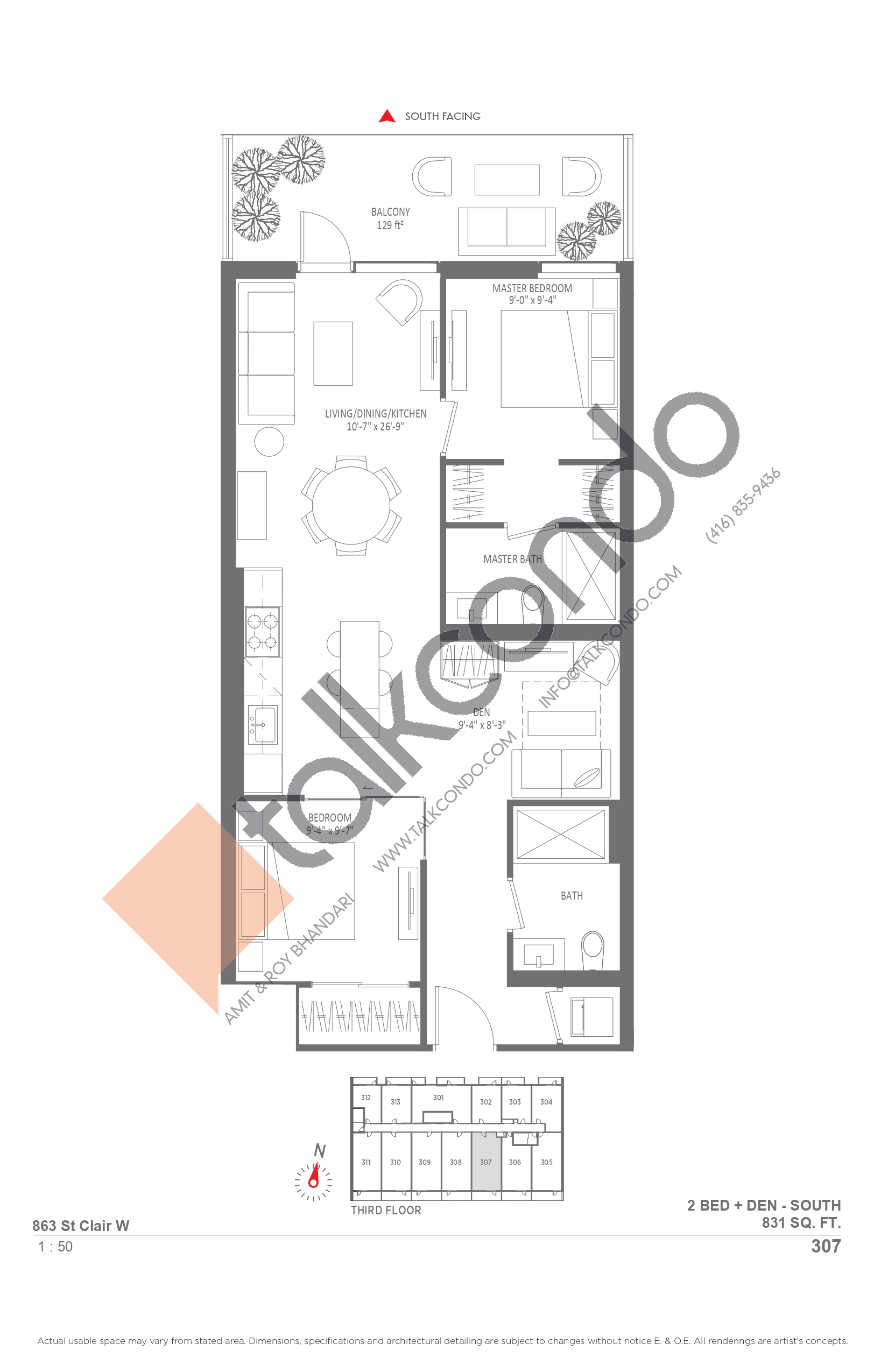 307 Floor Plan at Monza Condos - 831 sq.ft