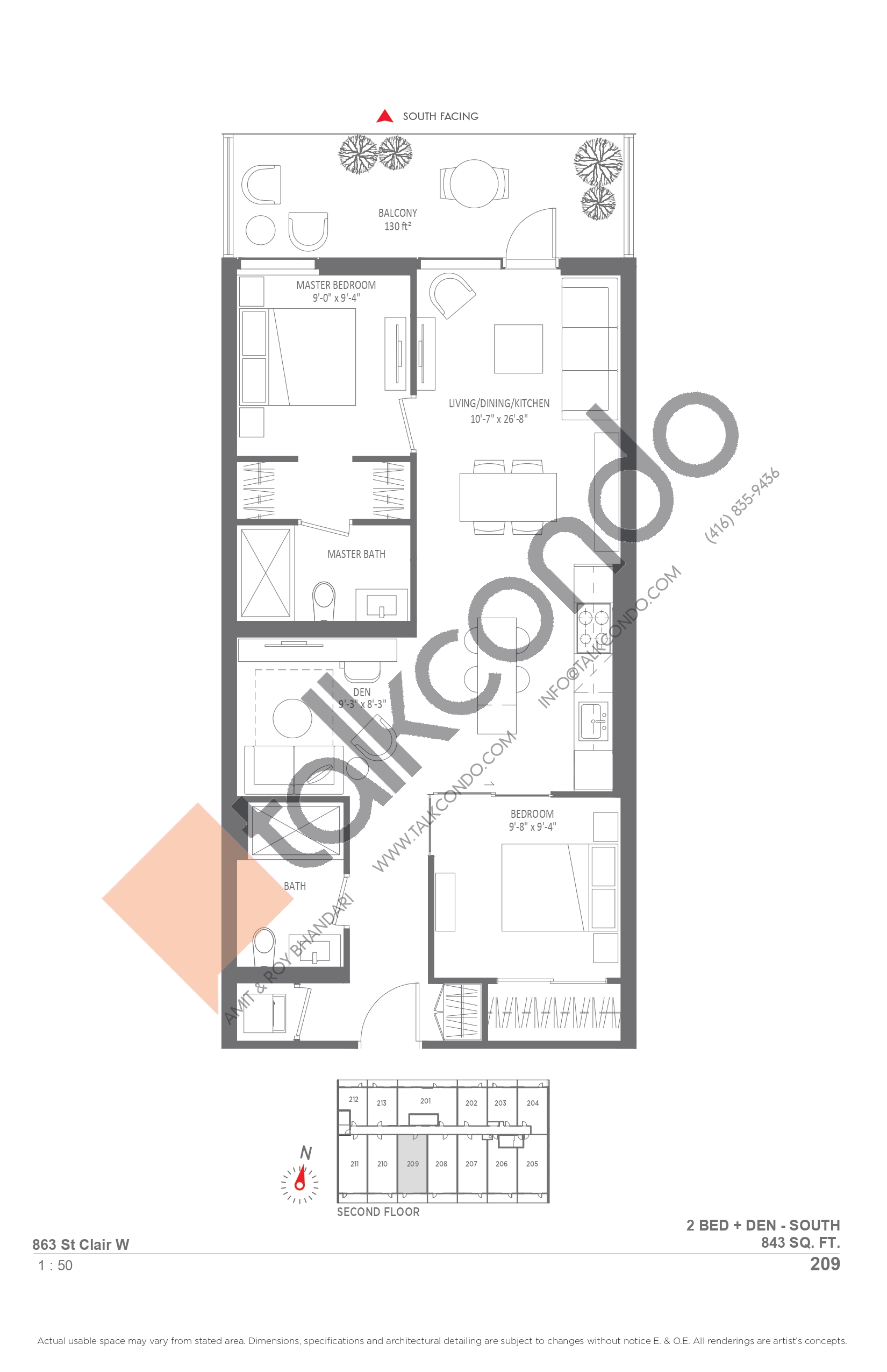 209 Floor Plan at Monza Condos - 843 sq.ft
