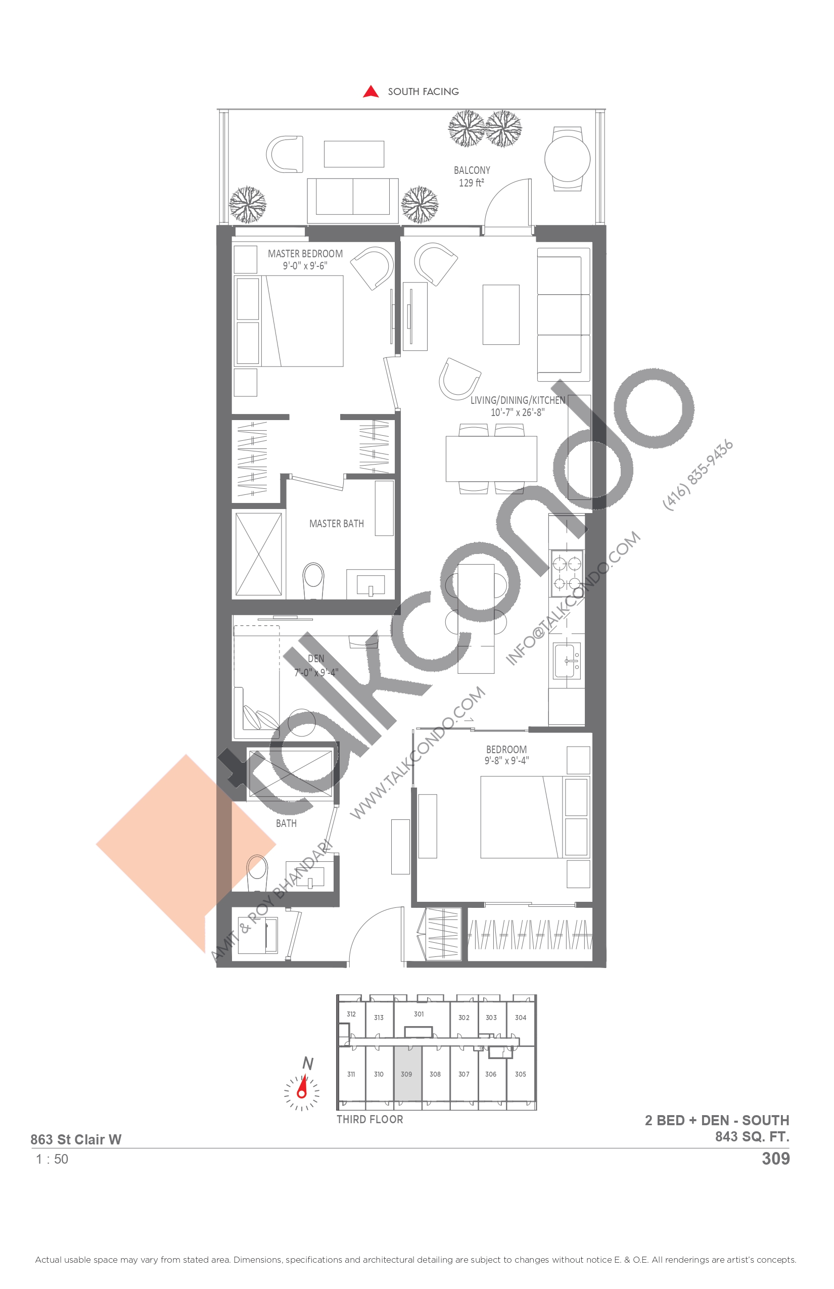 309 Floor Plan at Monza Condos - 843 sq.ft