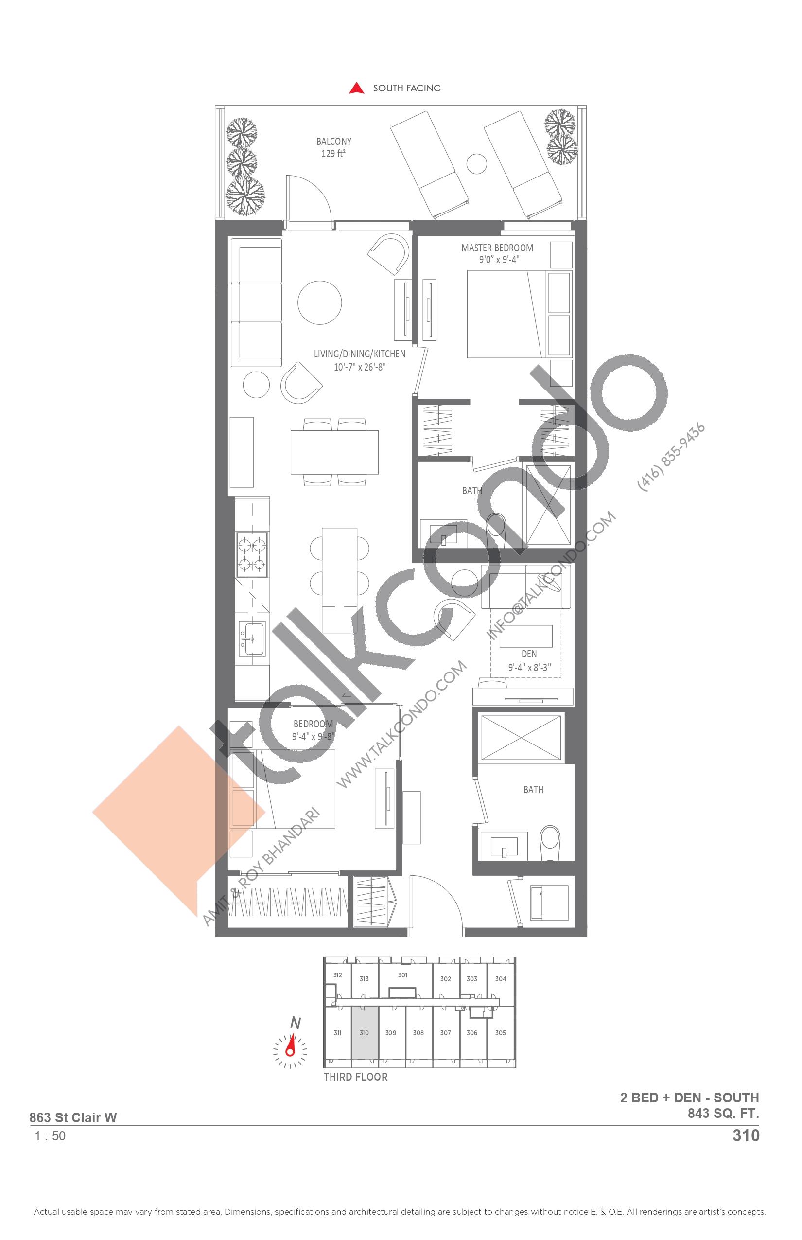 310 Floor Plan at Monza Condos - 843 sq.ft