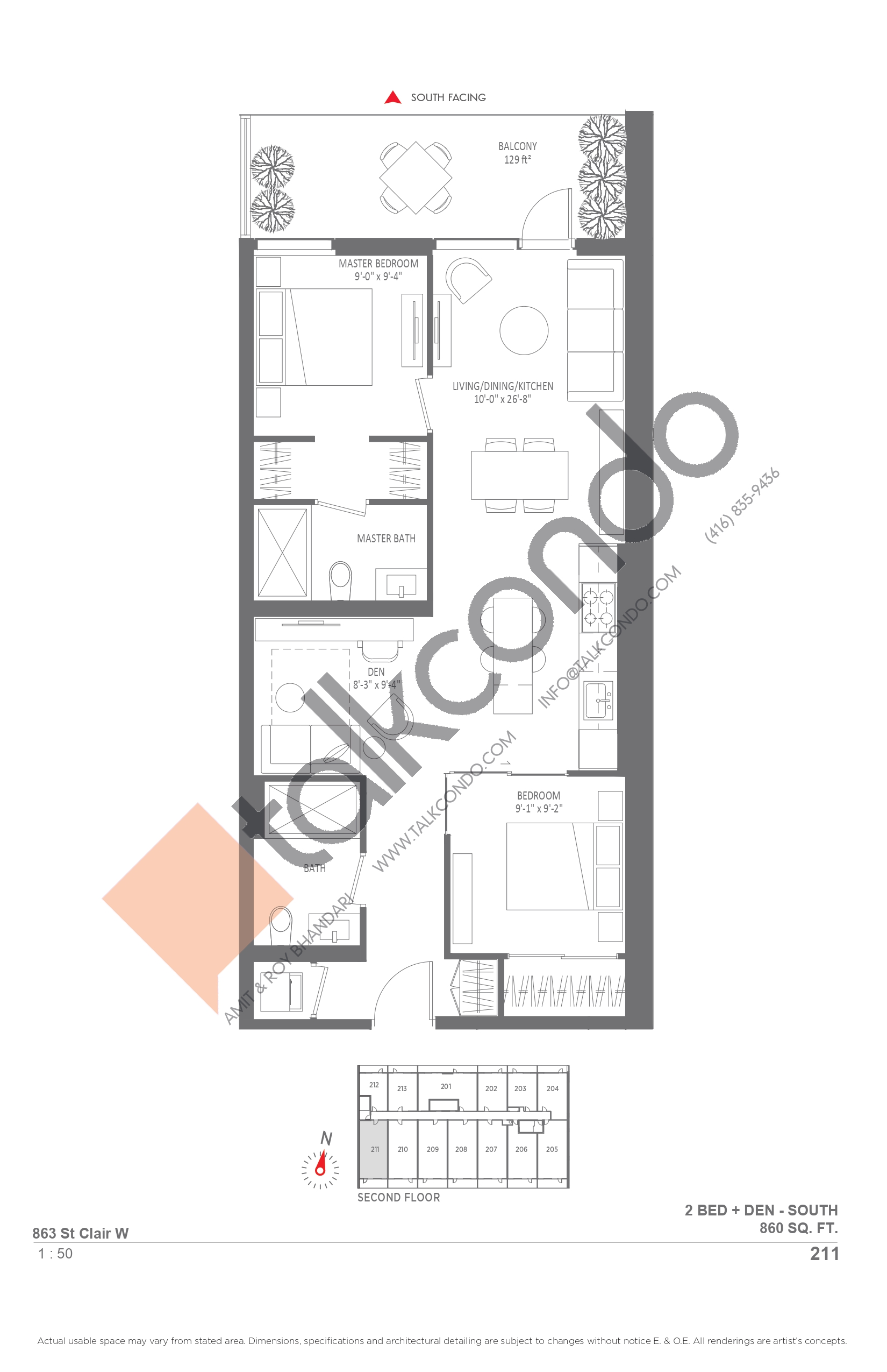 211 Floor Plan at Monza Condos - 860 sq.ft