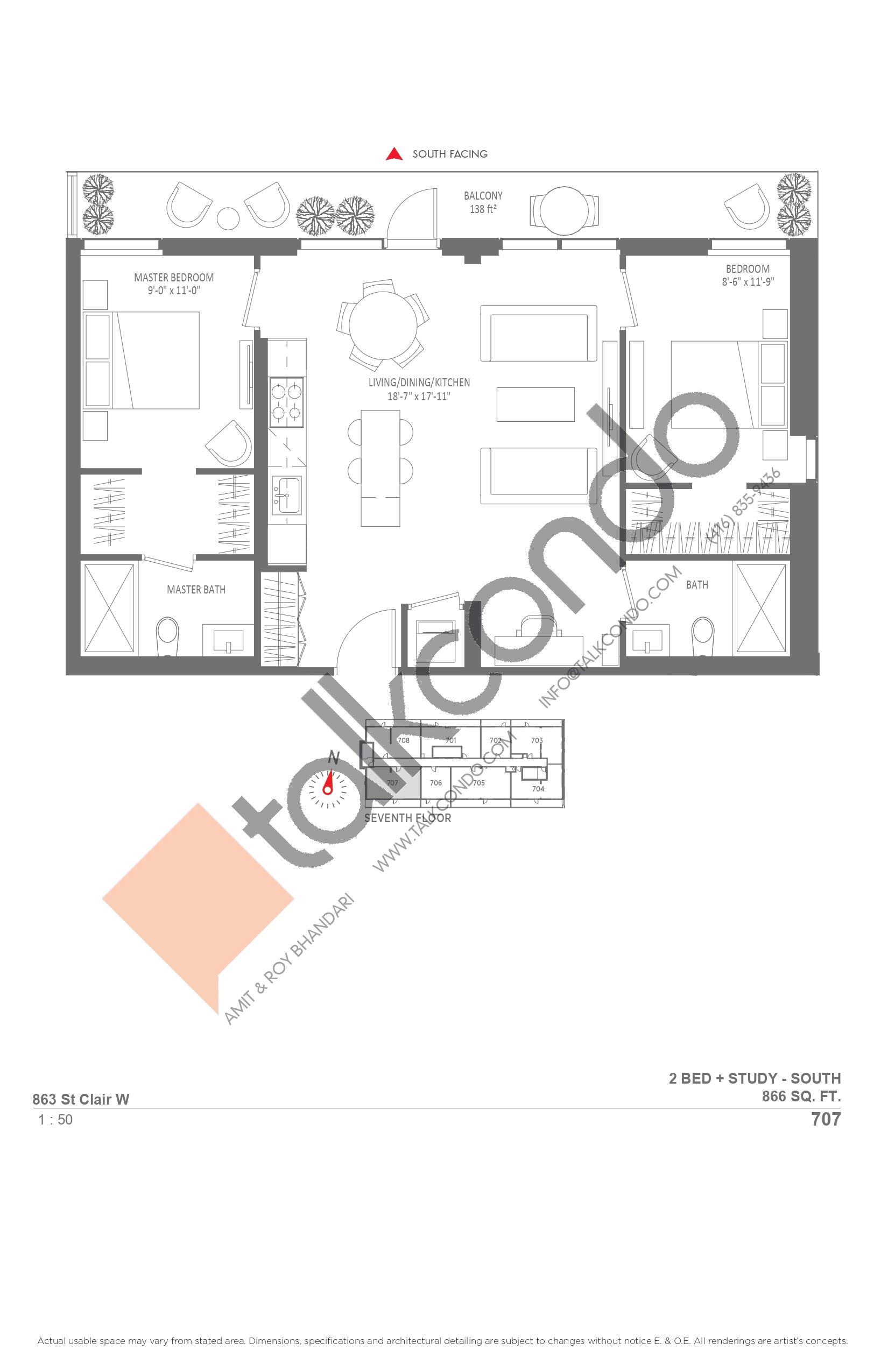 707 Floor Plan at Monza Condos - 866 sq.ft