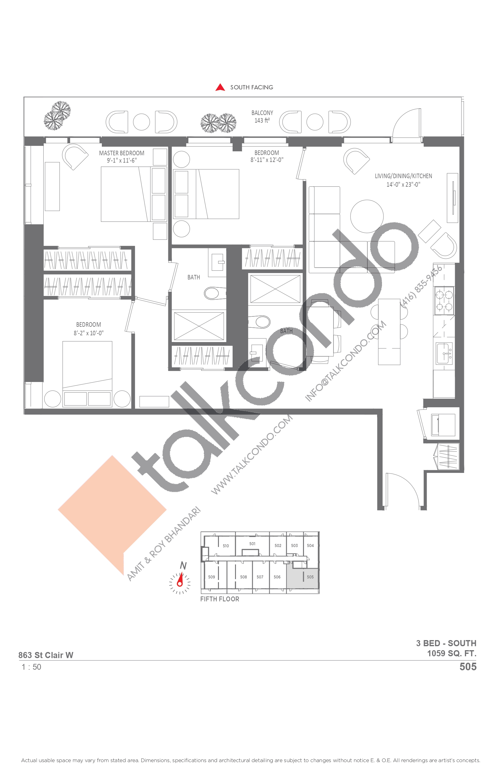505 Floor Plan at Monza Condos - 1059 sq.ft