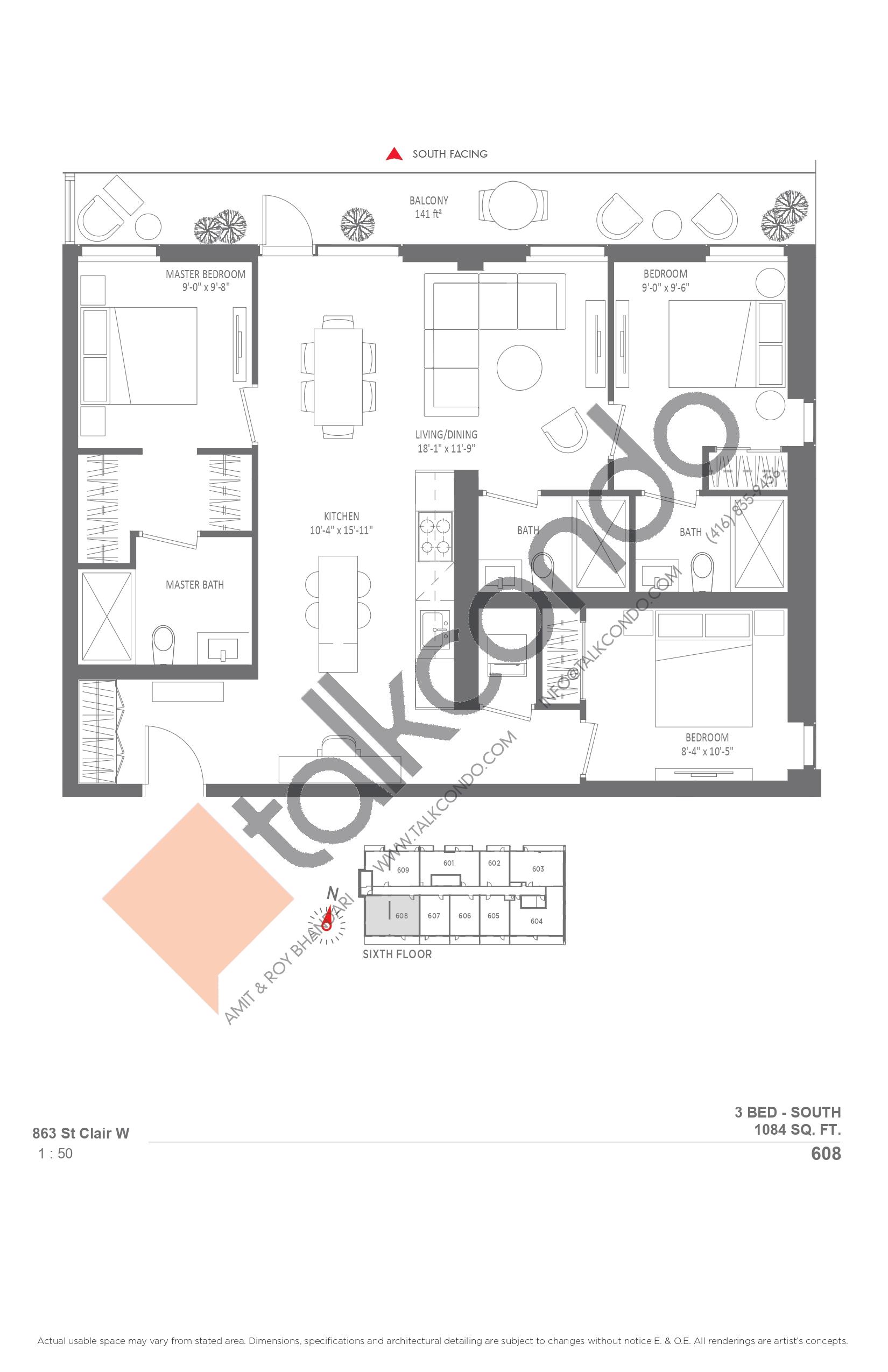 608 Floor Plan at Monza Condos - 1084 sq.ft