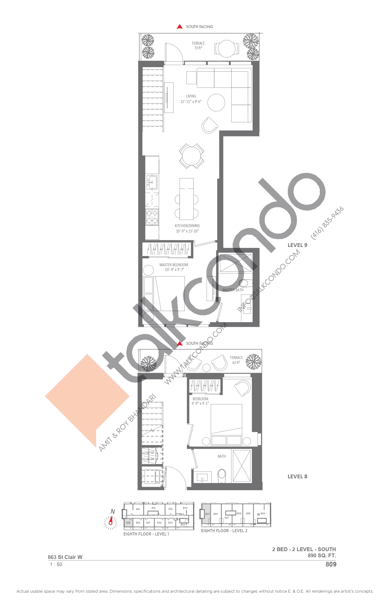 809 Floor Plan at Monza Condos - 890 sq.ft