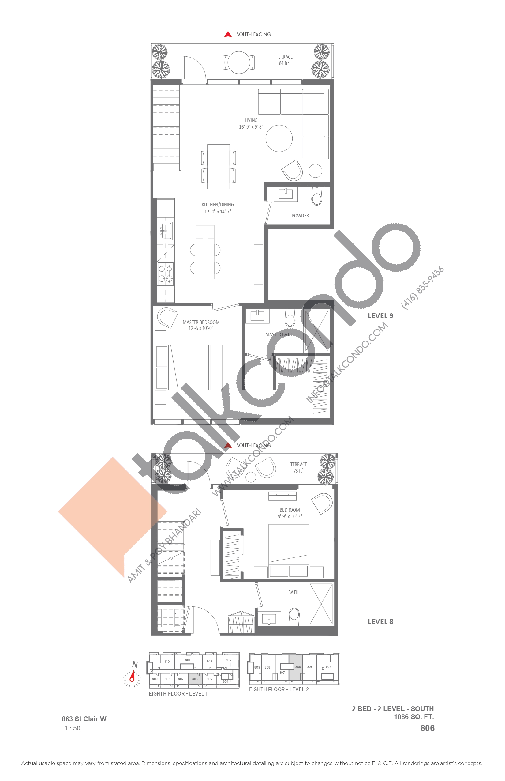 806 Floor Plan at Monza Condos - 1086 sq.ft